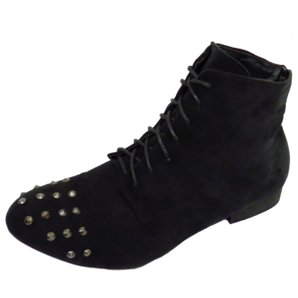 Negro De Mujer Al Tobillo Con Cordones Combate Motociclista Plana Informal Botas Militares Zapatos UK 3-9
