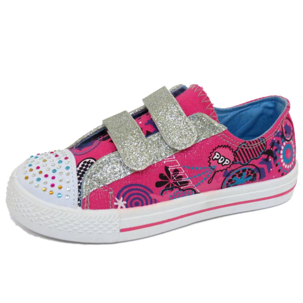childrens flat canvas pink diamante trainer shoes