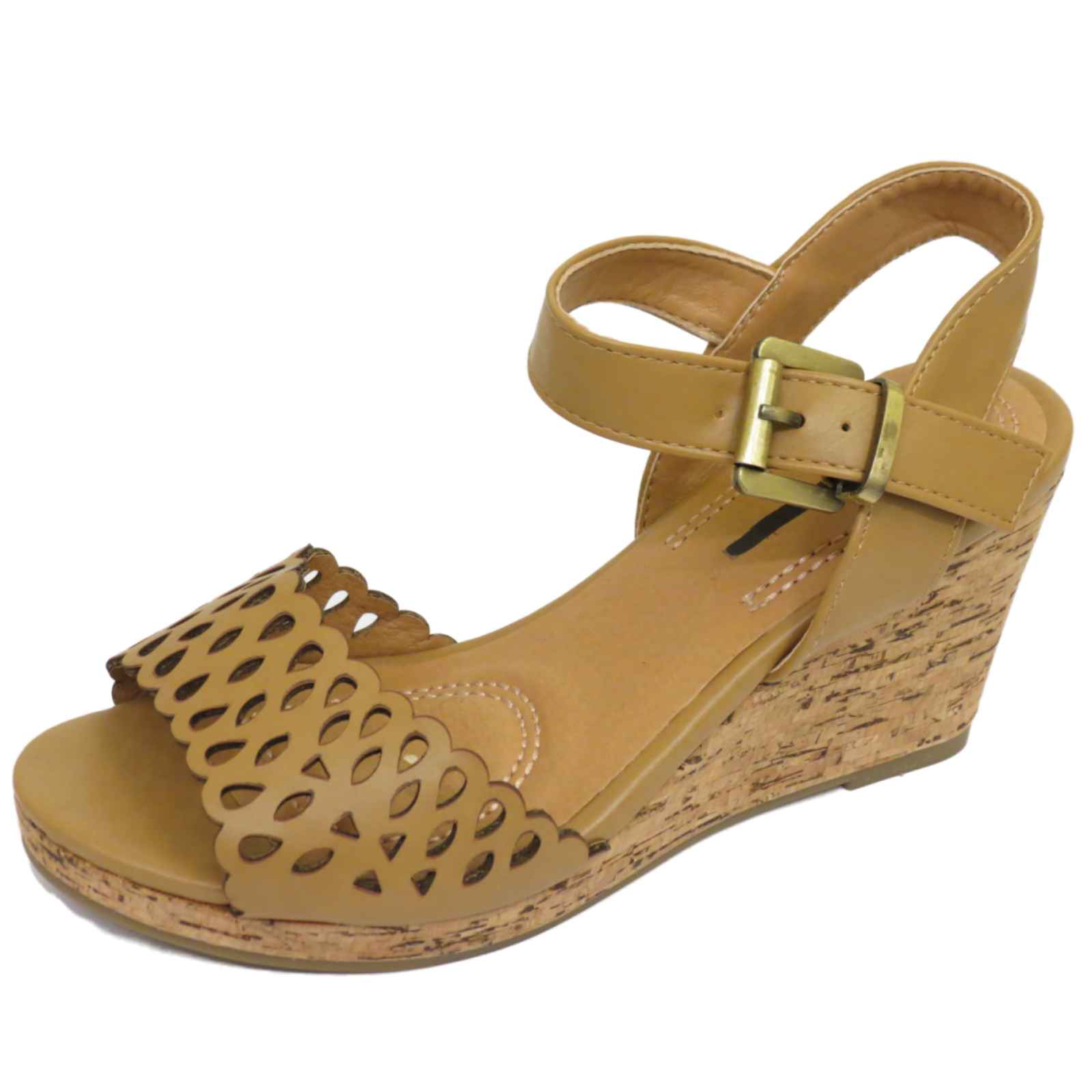 Mujer Tostado Plataforma Sandalias de verano Punta Abierta Tobillo Zapatos