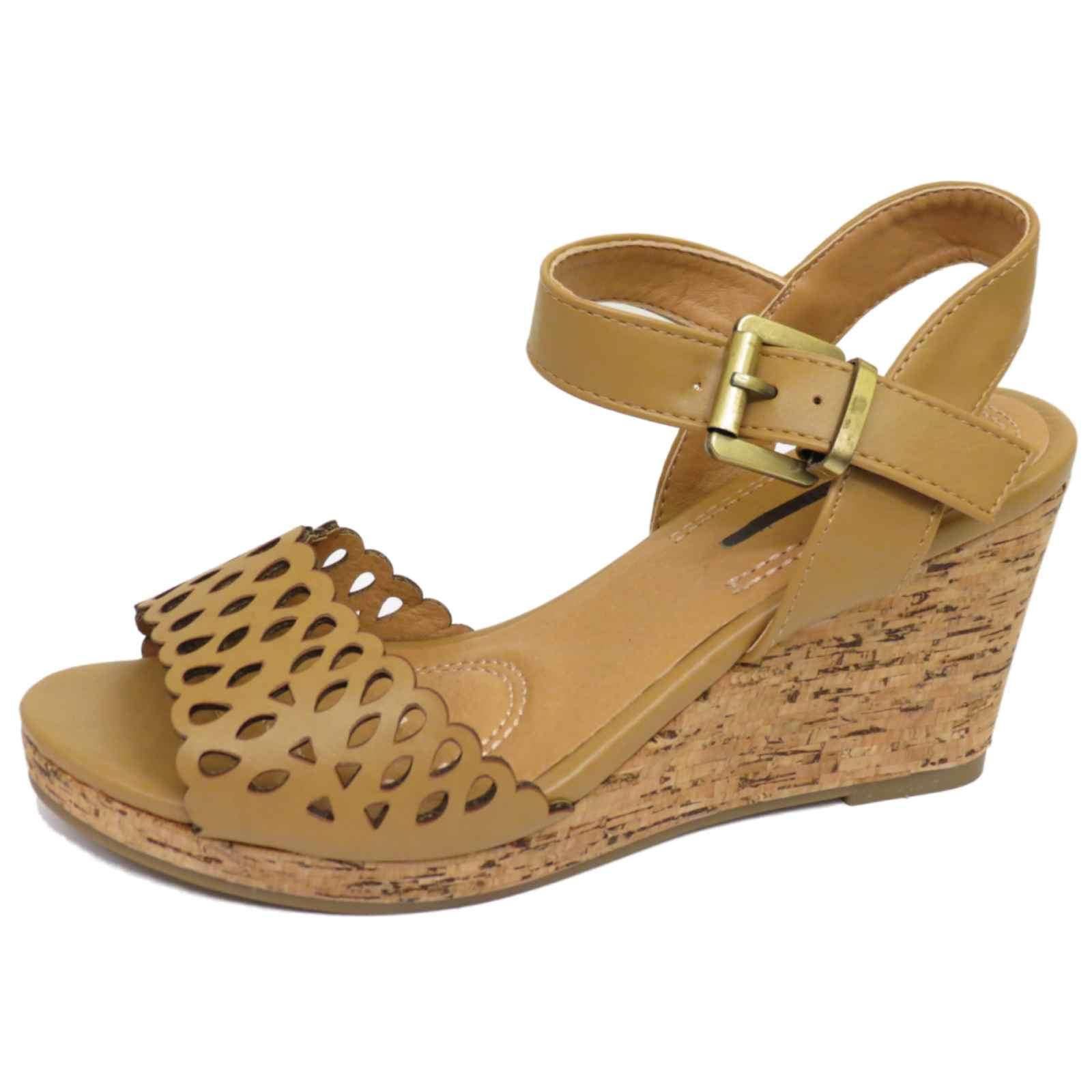 wedge platform summer sandals peep toe ankle