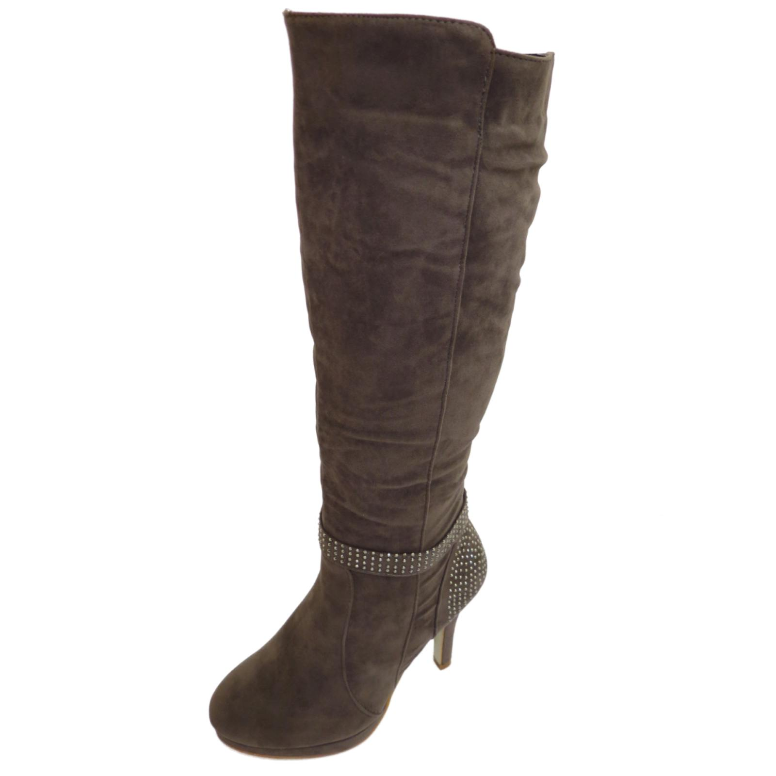 womens grey stiletto high heel knee high zip platform
