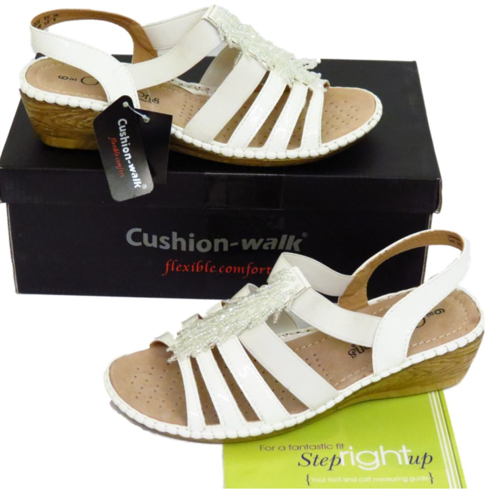 Womens Extra Wide Fit Eee White Elastic Wedge Comfy Summer
