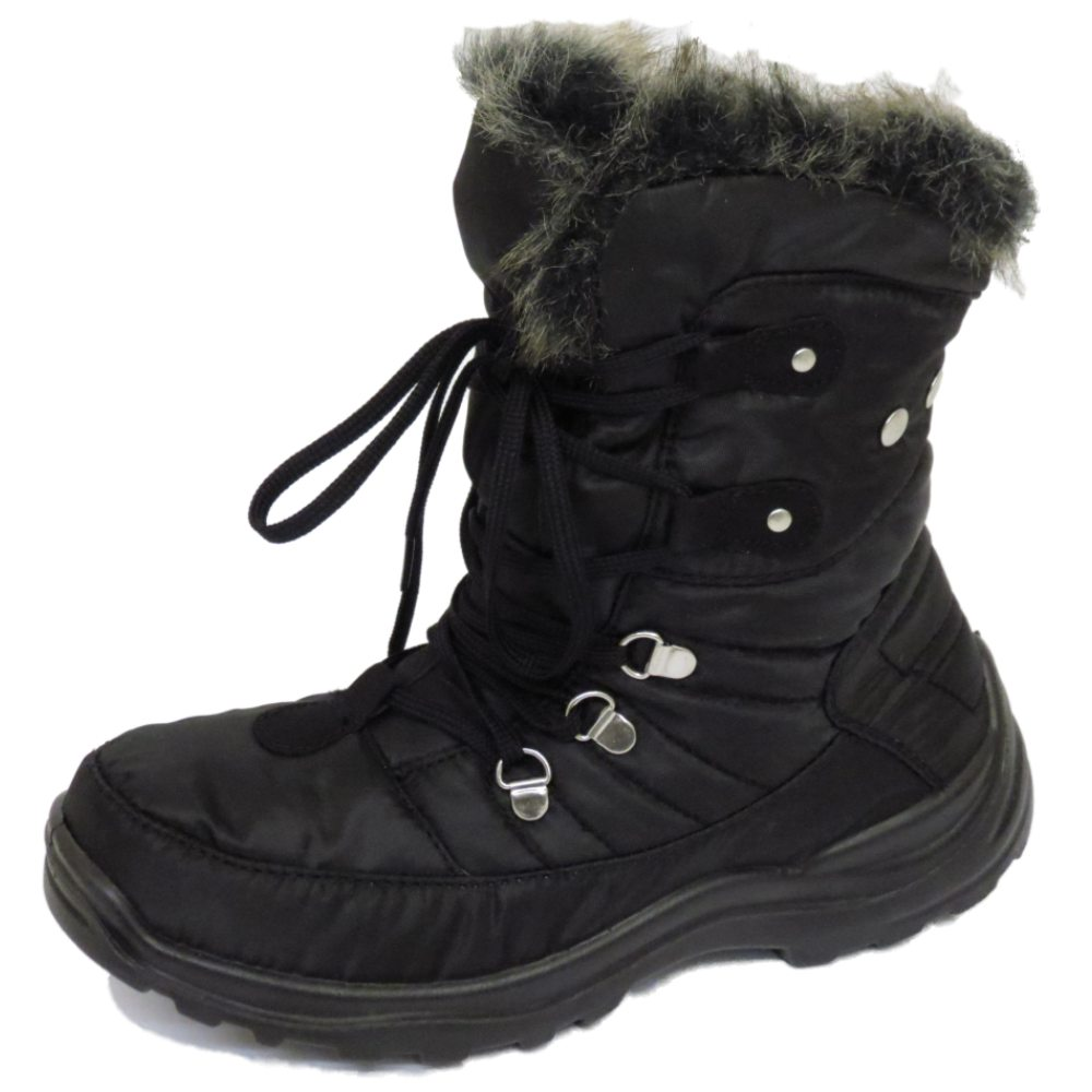 WOMENS WARM LACE-UP BLACK WINTER SNOW RAIN SKI ANKLE BOOTS