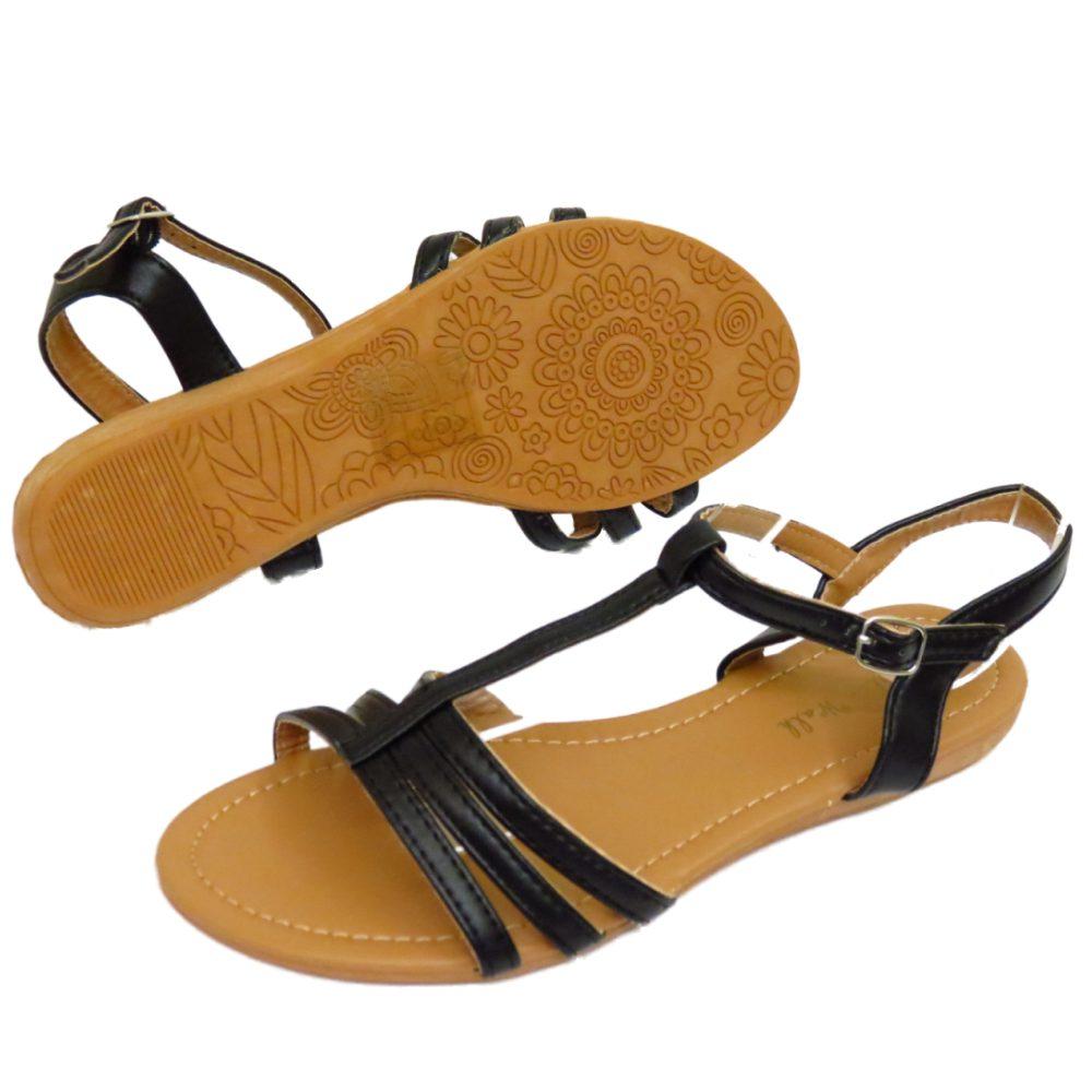 Black sandals holiday - Image Is Loading Womens Black Flat Flip Flop Shoes Gladiator Summer