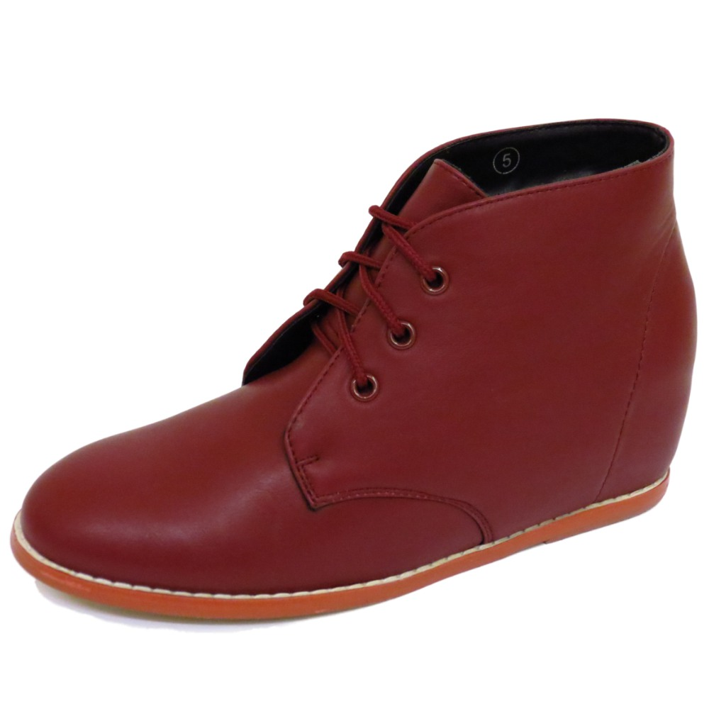 womens dolcis burgundy hidden wedge lace-up ankle boots retro