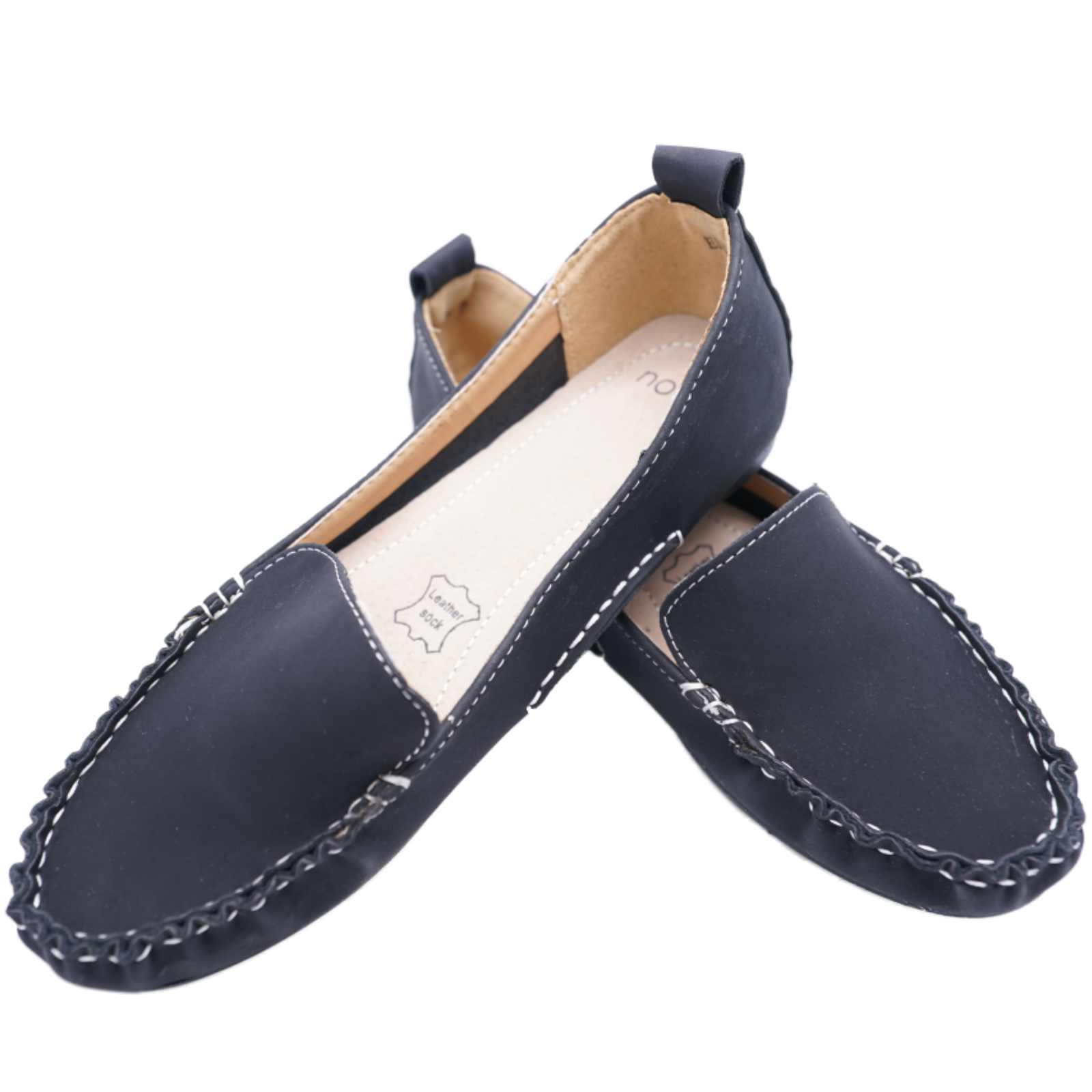 black slip on leather work moccasin casual comfort