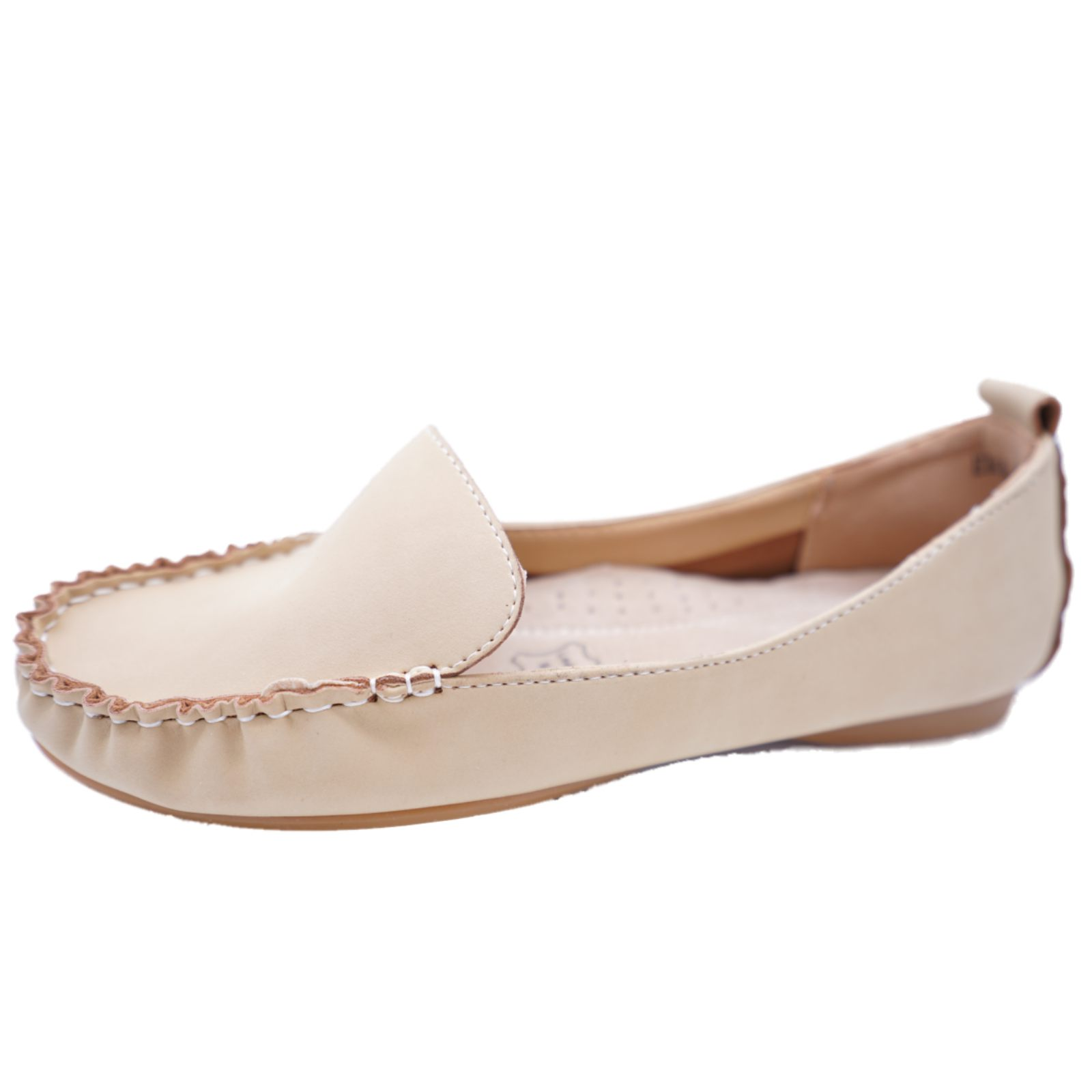 Ladies Nude Slip-en el trabajo de cuero confort Mocasín Informal Mocasín Zapatos Talla 4-7