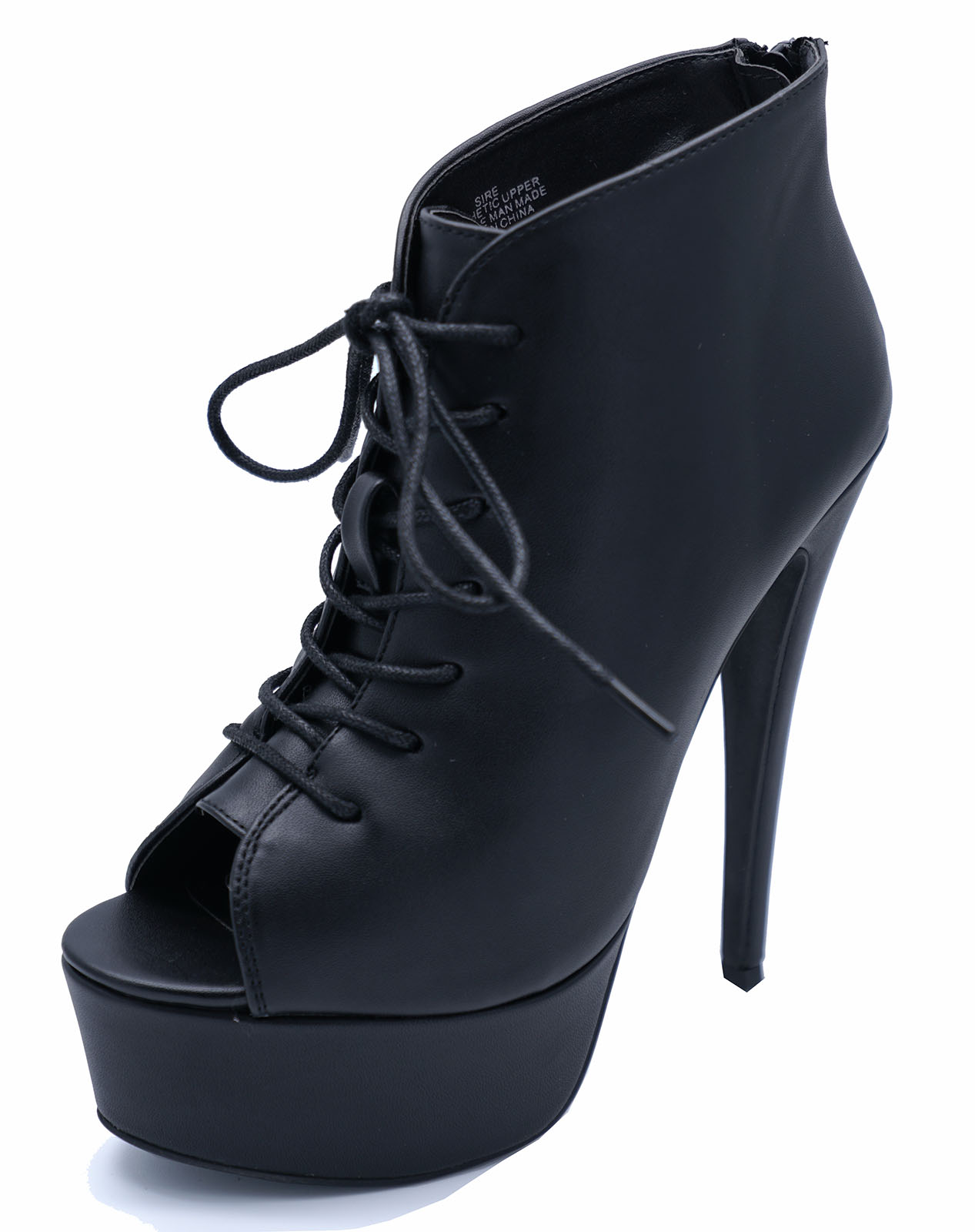 black zip up platform peep toe lace up ankle high