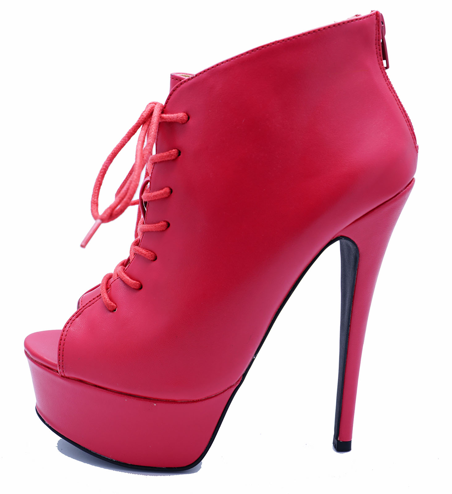 LADIES RED ZIP-UP PLATFORM PEEP-TOE LACE-UP ANKLE HIGH-HEEL BOOTS SHOES UK 3-9