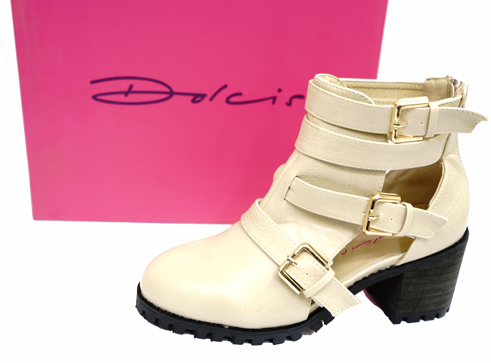 LADIES-DOLCIS-NUDE-CHUNKY-PLATFORM-CLEATED-BUCKLE-ANKLE-BOOTS-SHOES-SIZE-3-8