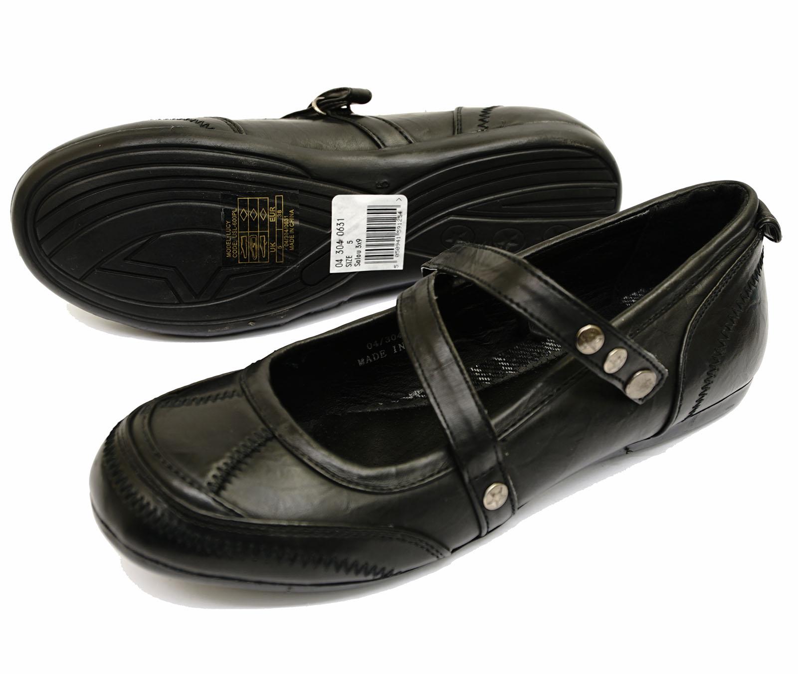 LADIES FLAT SLIP-ON BLACK CASUAL BALLERINA COMFY DOLLY ...