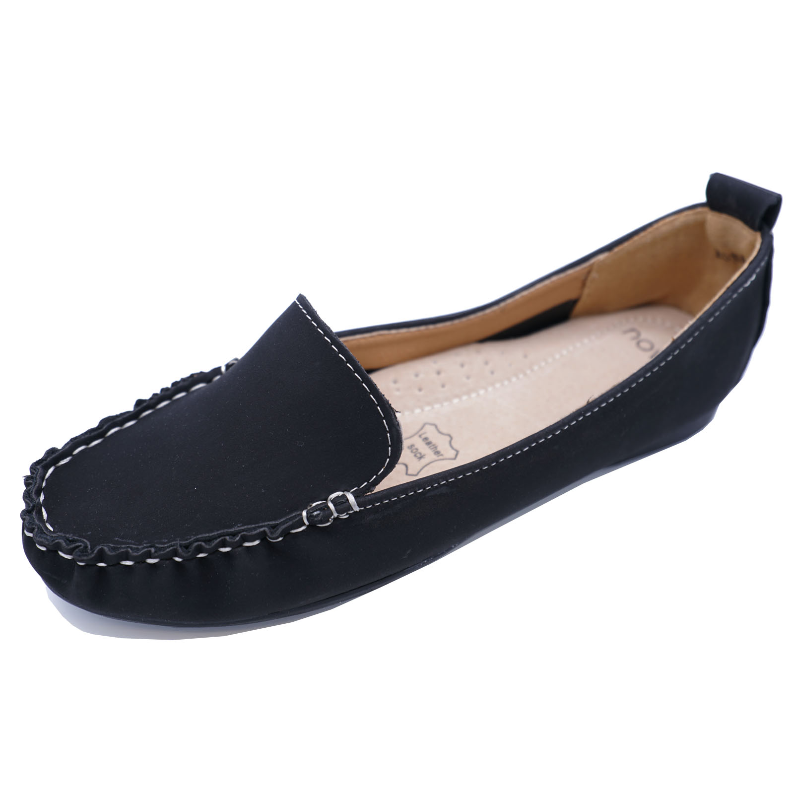 womens black leather slip on comfy moccasin casual comfort
