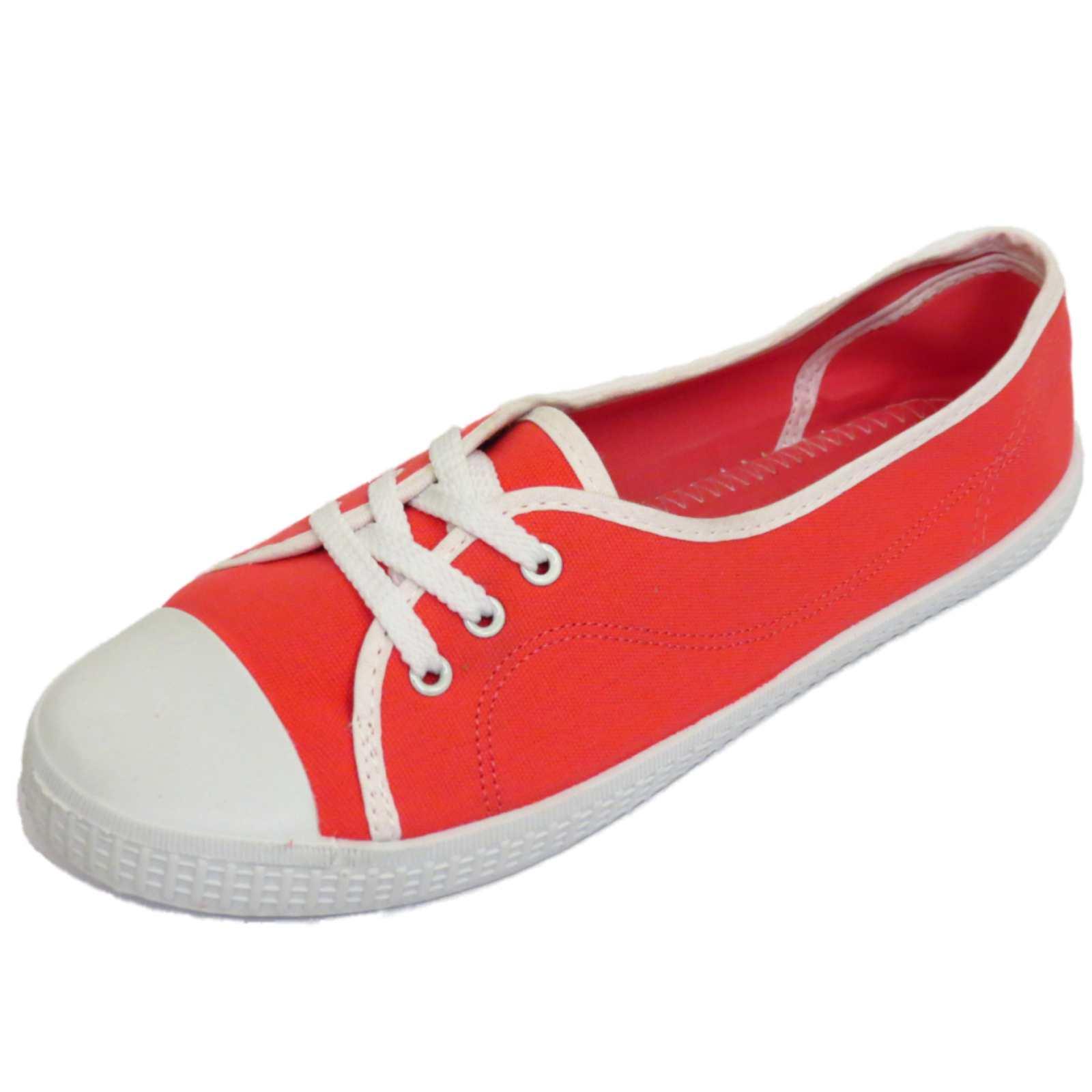 Para Mujer Coral Rojo De Lona Con Cordones Plana Entrenador Zapatillas De Tenis Zapatos De Salón Tallas 3-9