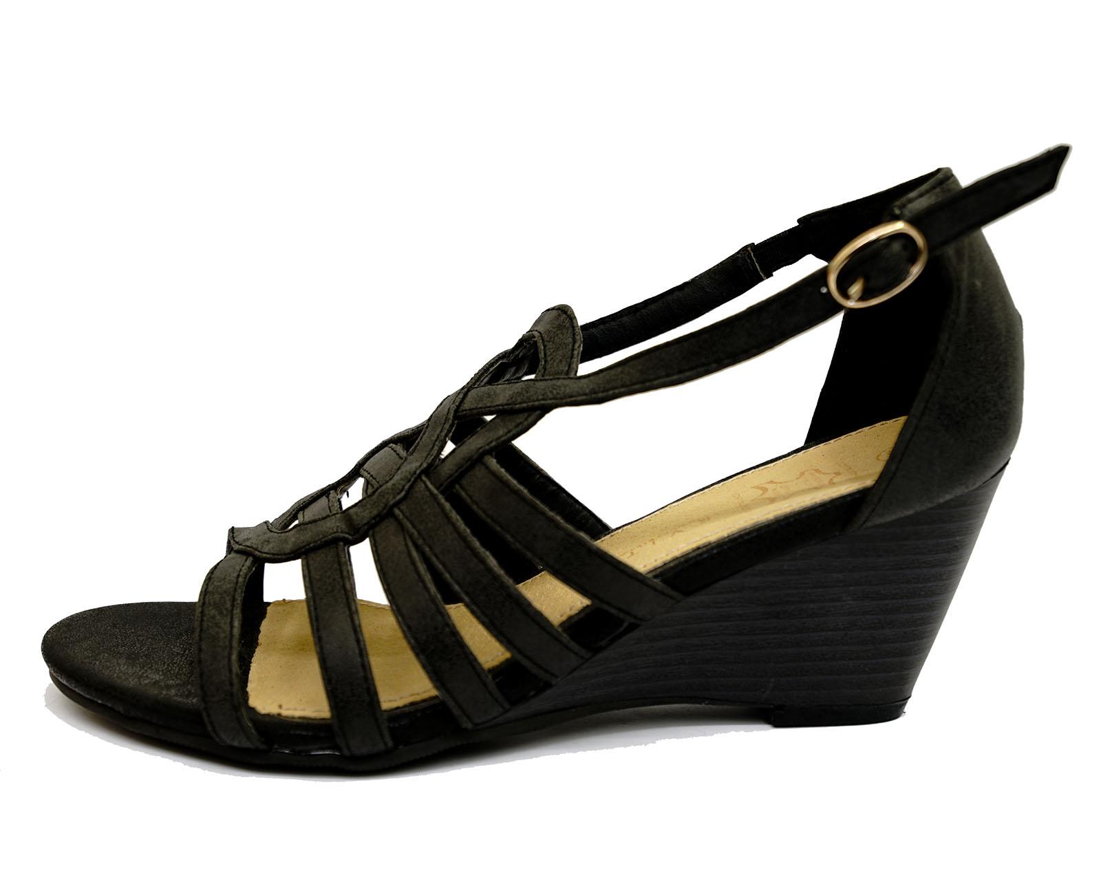 black wedges leather gladiator comfy peep toe