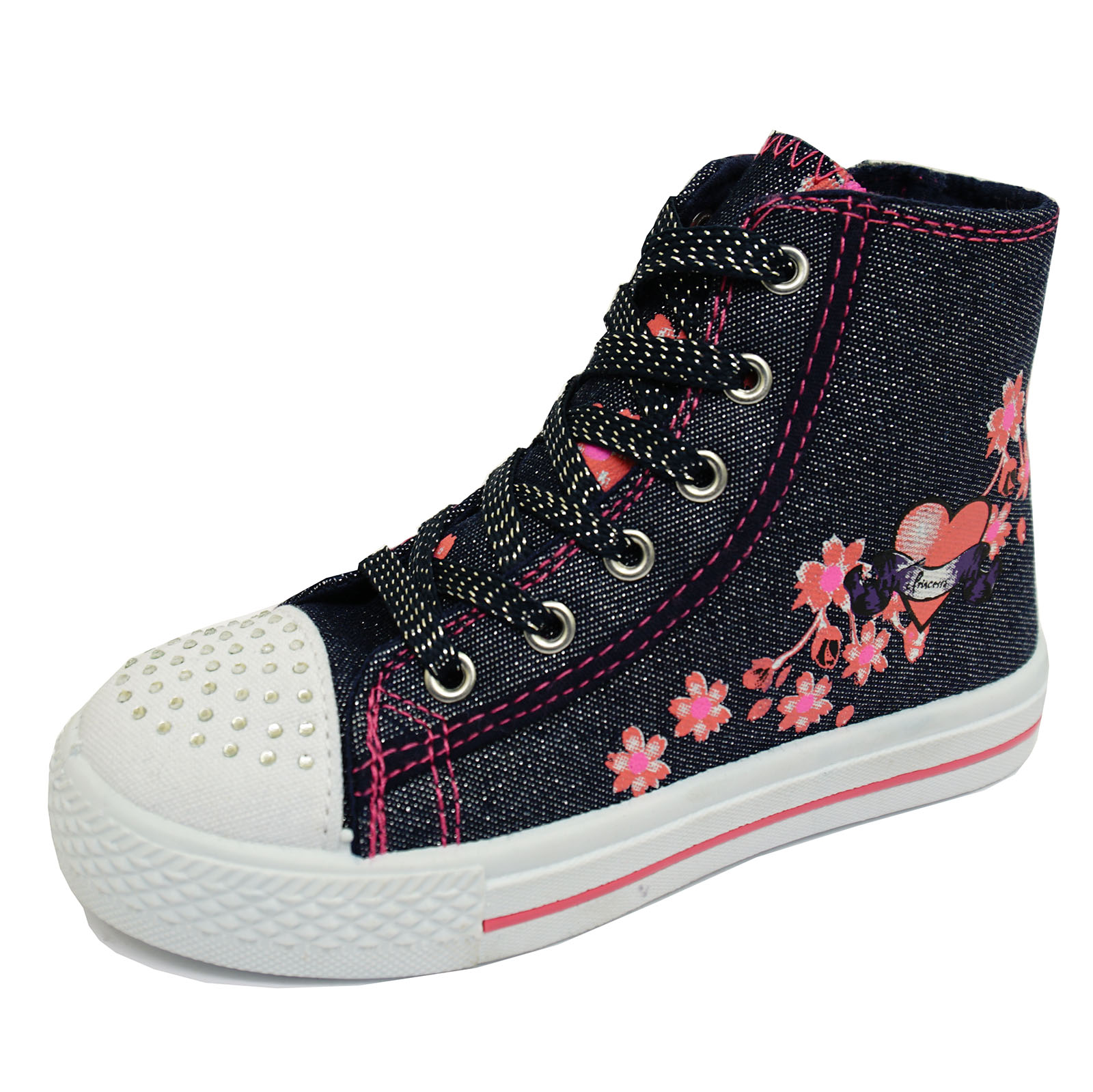 Chicas Azul Marino Brillo Cremallera Lona Zapatos Botas al Tobillo béisbol bombas de los tamaños 11-2