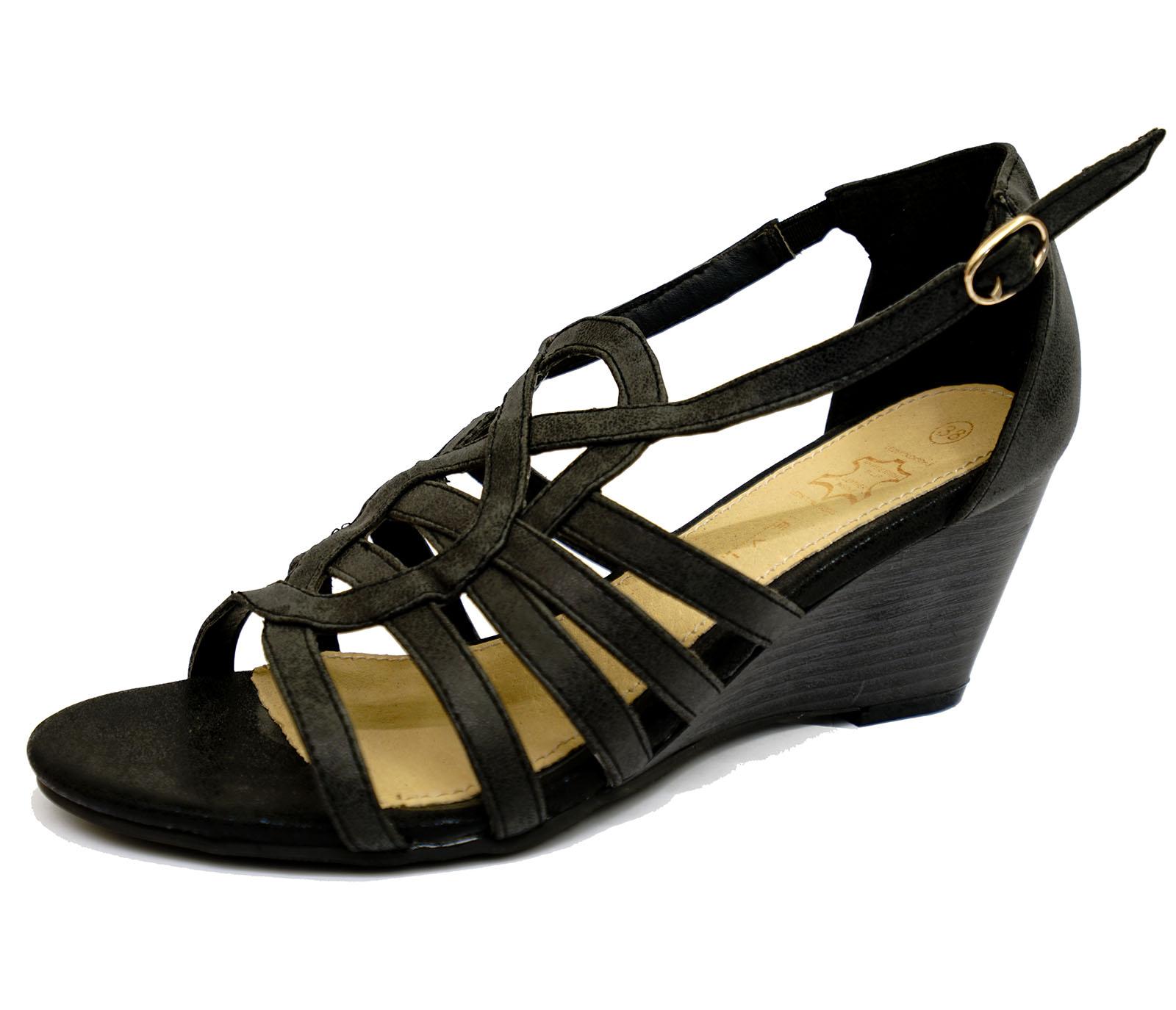 Para Mujeres Cuero Negro Puntera Abierta Zapatos Sandalias Cuñas De Verano Correa De Tobillo Uk 3-8