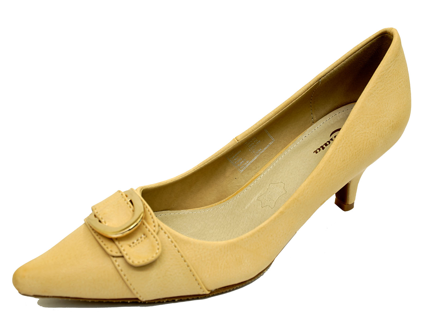 Para Mujeres Cuero Beige Sin Cordones Trabajo Tribunal Zapatos Taco secretario Gatito-tamaños 2-7