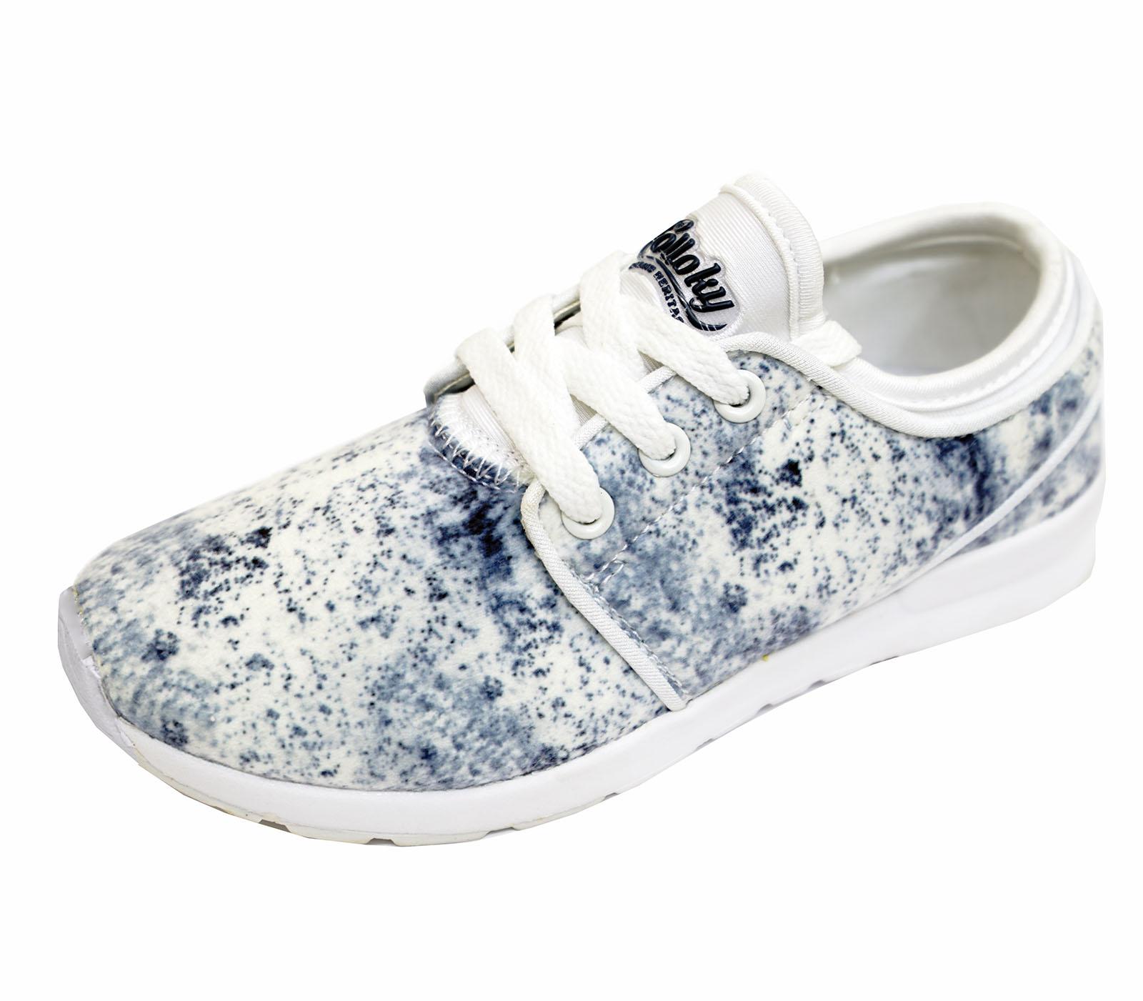 Niños Childrens Blanco Azul Zapatillas Con Cordones Bombas Zapatos De Escuela Pe Deportes 10-5
