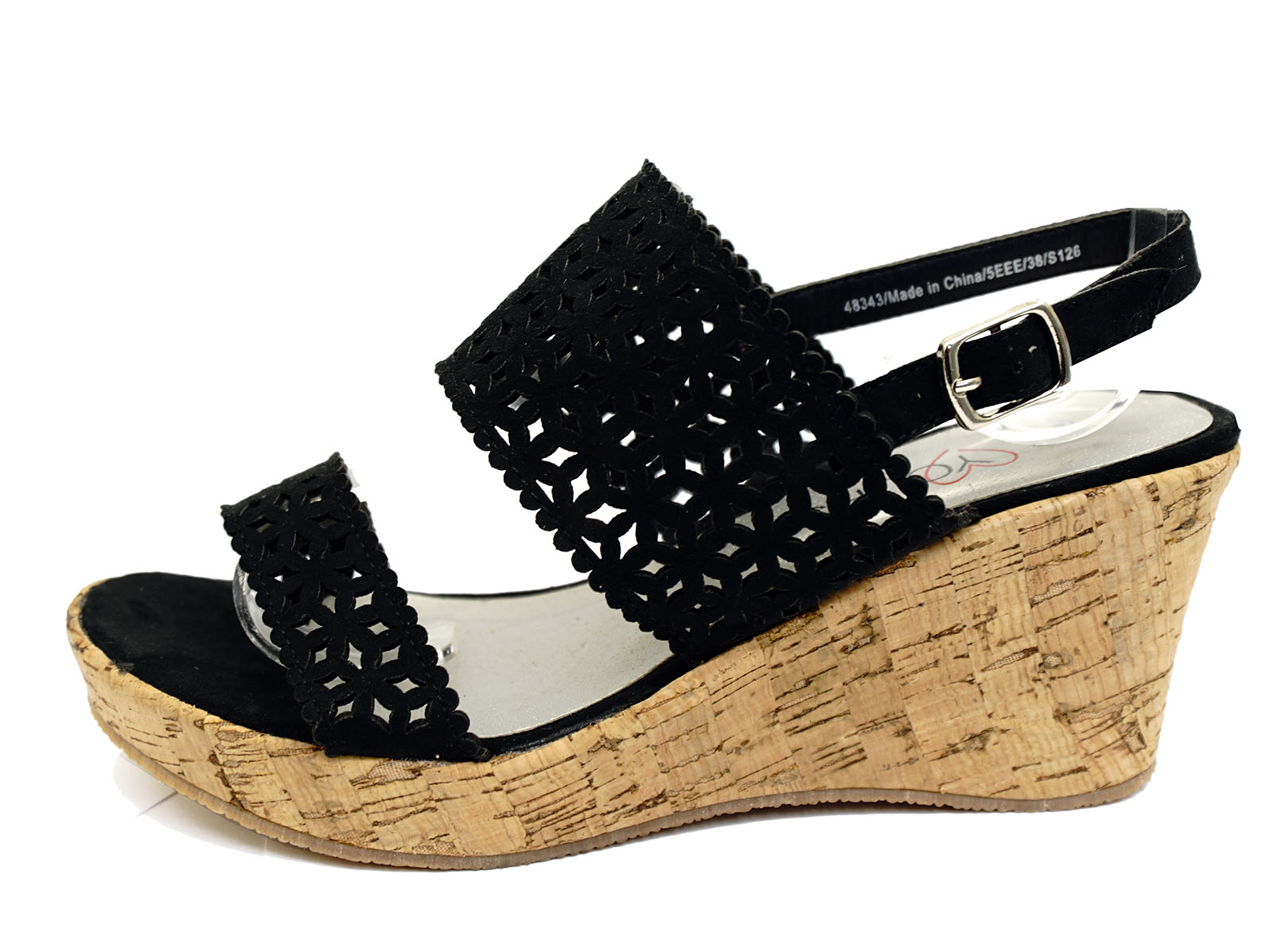 d47b163c076 WOMENS BLACK WIDE-FIT EEE WEDGE PLATFORM OPEN-TOE STRAPPY SANDALS ...