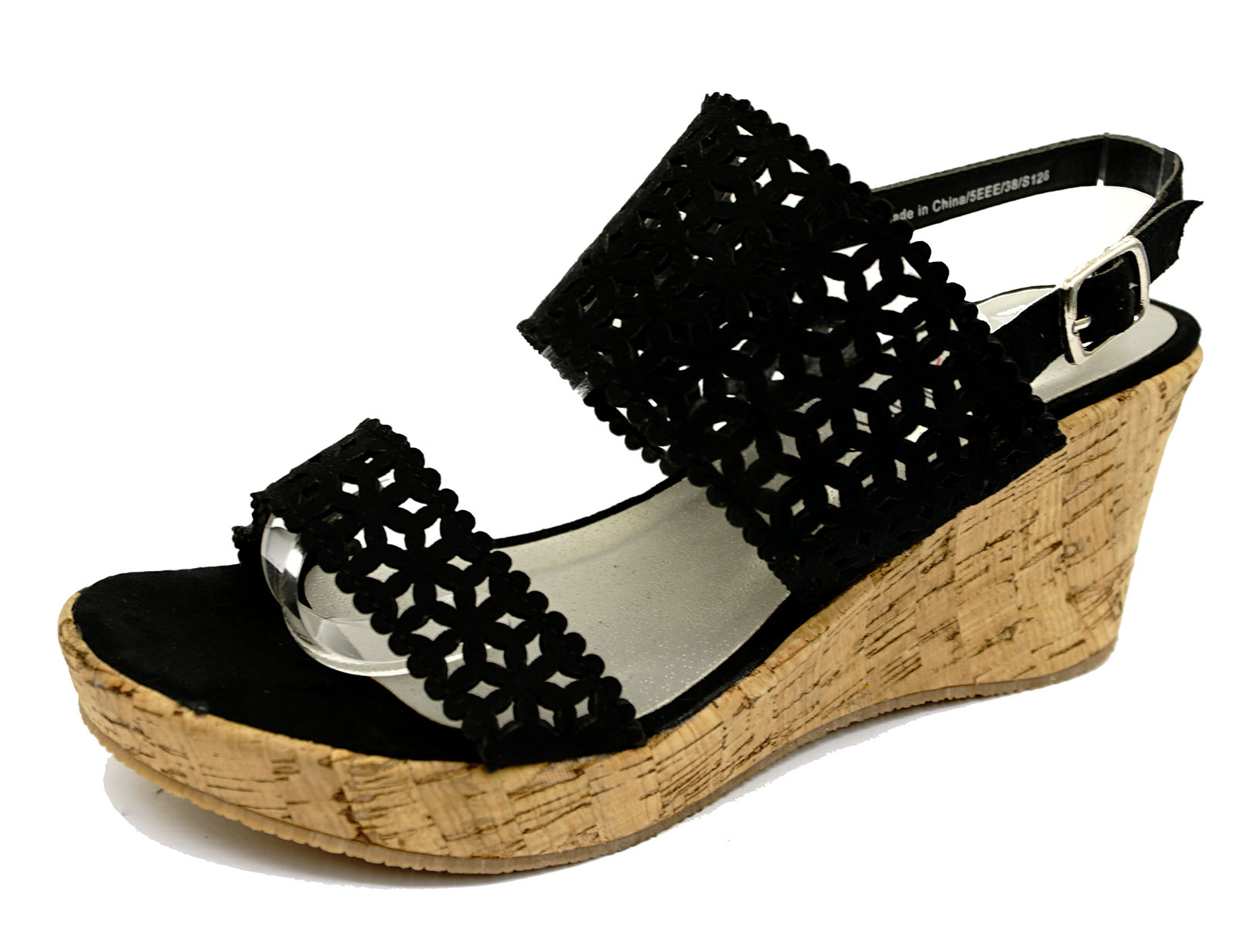 womens black wide fit eee wedge platform open toe strappy