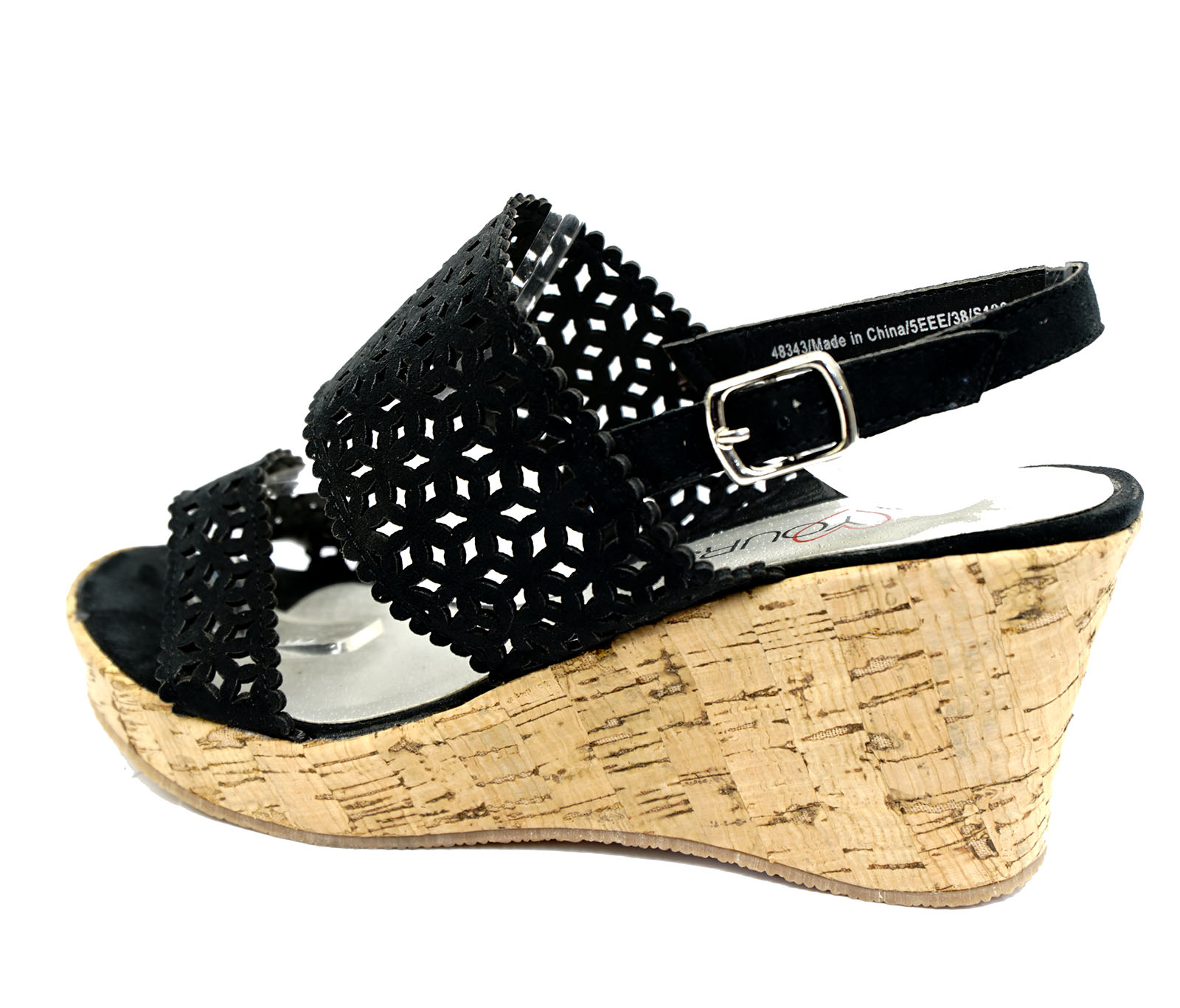 womens black wide fit eee wedge platform open toe strappy