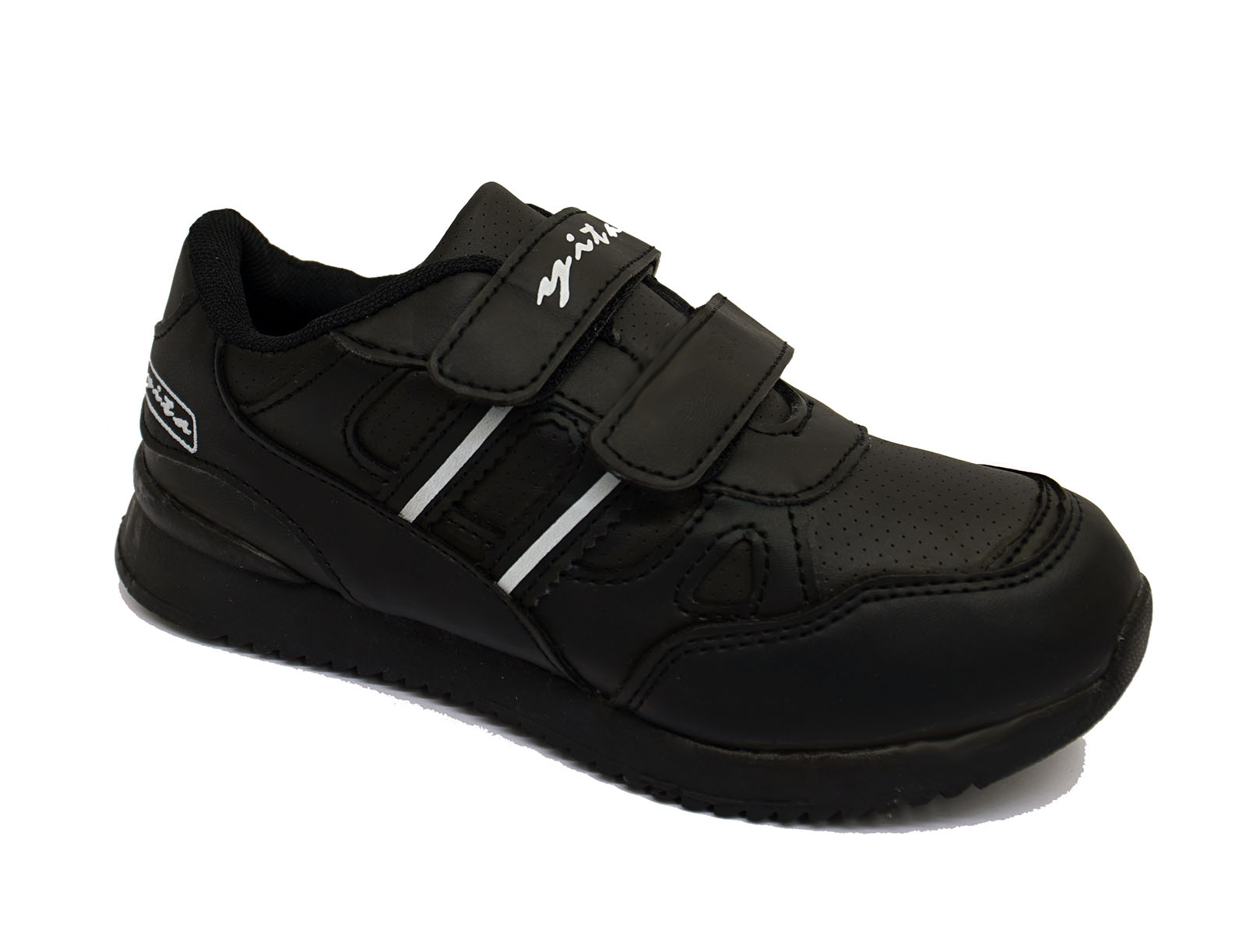 Niños Niñas Niños Childrens Negro Deportes Entrenadores Zapatos Escolares Playera Zapatos De Salón 12-3