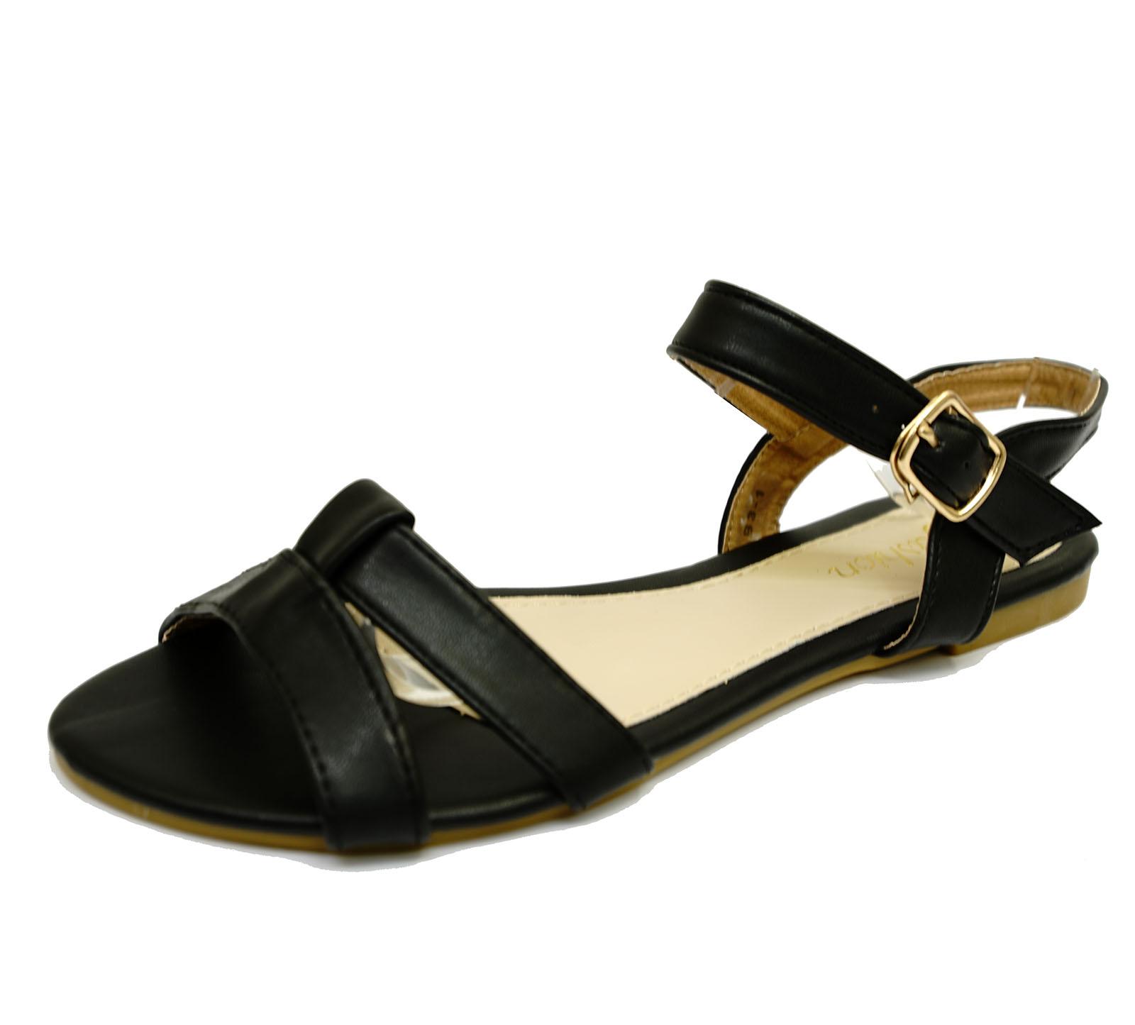 Mujeres Negro Plano Sin Puntera Cómodos Zapatos Sandalias Bombas de vacaciones de verano tallas 3-8
