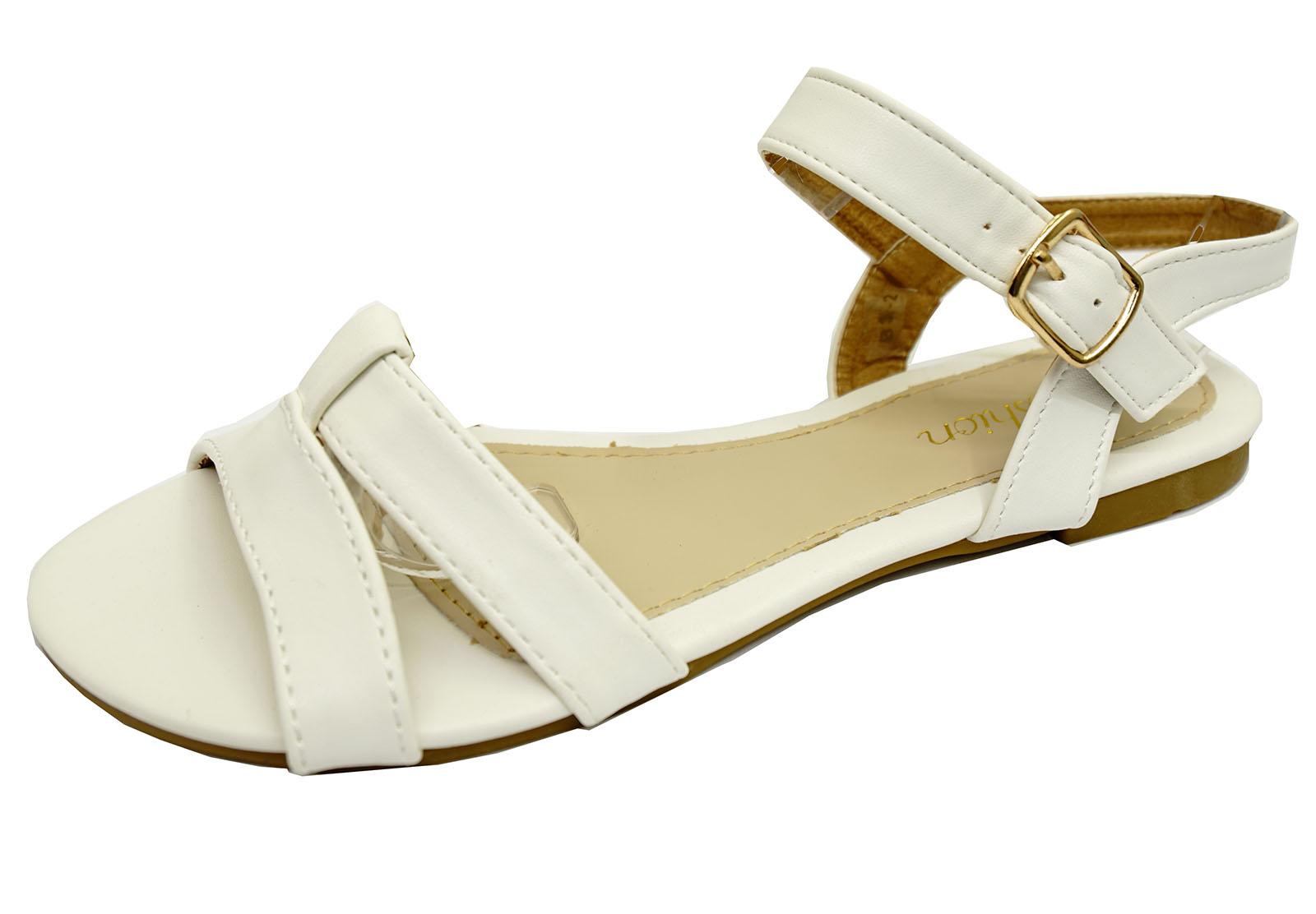 Mujer Blanca Plana Sin Puntera Cómodos Zapatos Sandalias De Verano Tamaños 3-8 bombas de vacaciones