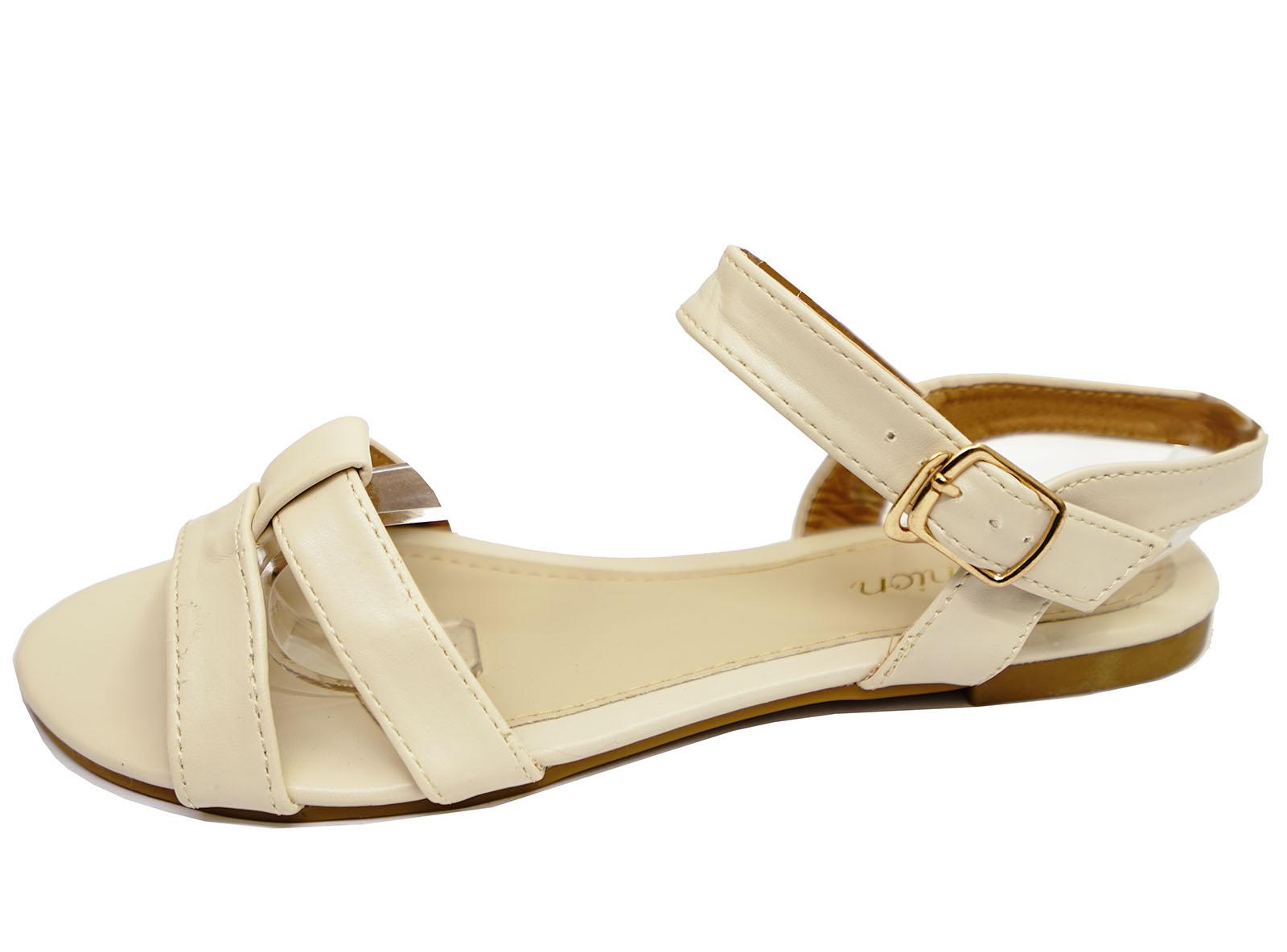 Mujeres Beige Plana Sin Puntera Cómodos Zapatos Sandalias De Verano Tamaños 3-8 bombas de vacaciones