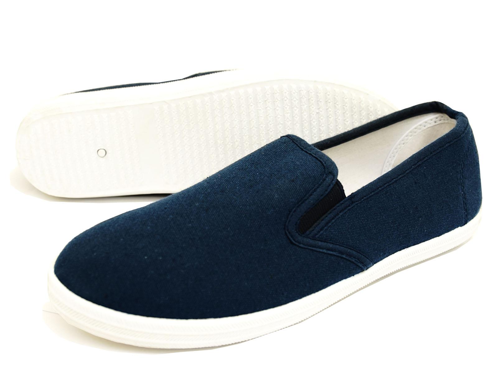 Señoras Azul Marino Lona Plano Sin Cordones Bombas Zapatos Alpargatas informales de flotación UK 3-8