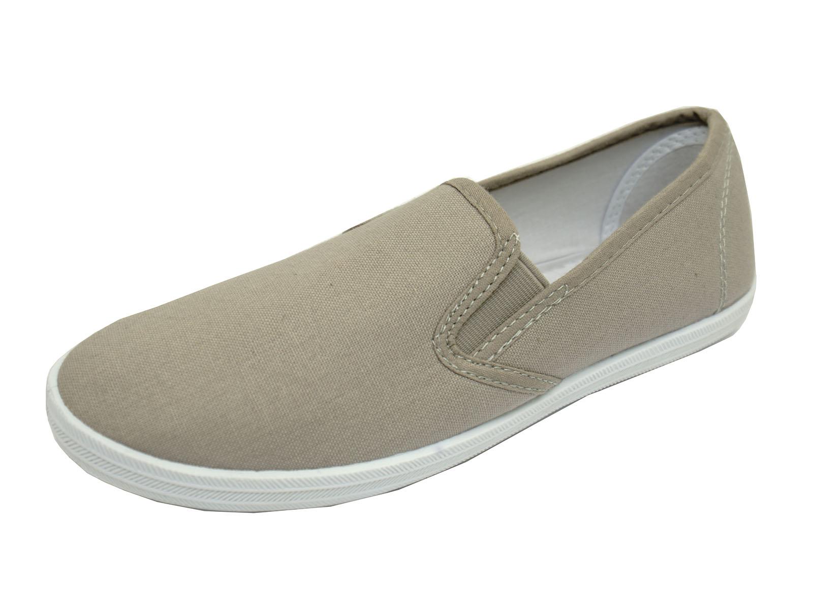 Mujeres Gris Plano Sin Cordones Lona Playera Bombas Zapatos de entrenamiento cómoda informal 3-8