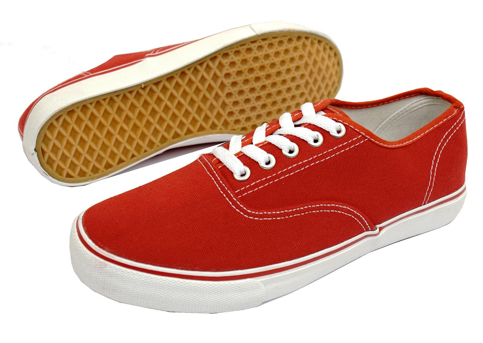 Para Hombre con Cordones de Lona Rojo Bombas Zapatos Casuales Zapatillas De Tenis plano entrenador cómoda UK 6-11