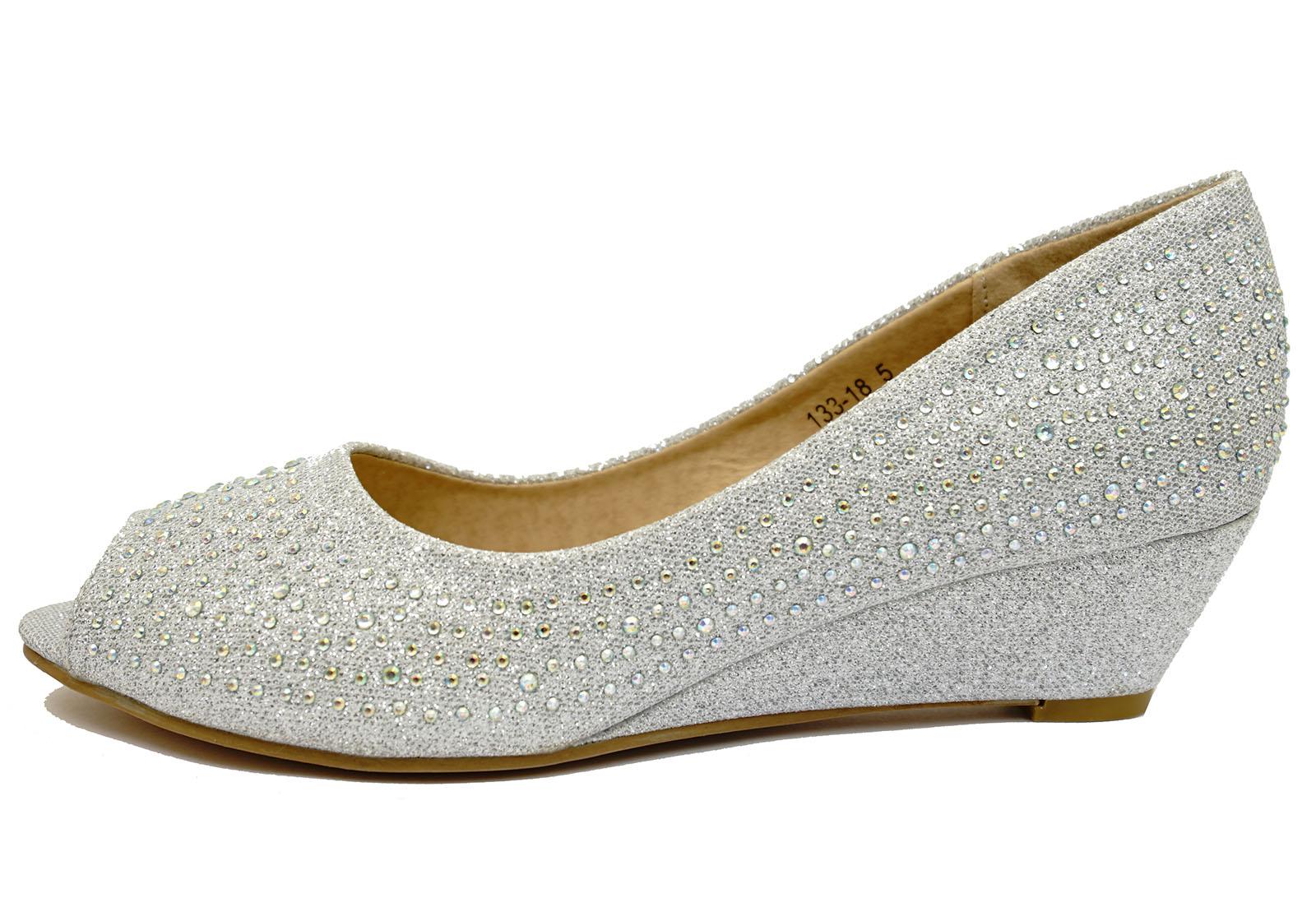 silver wedding bridal bridesmaid peep toe prom