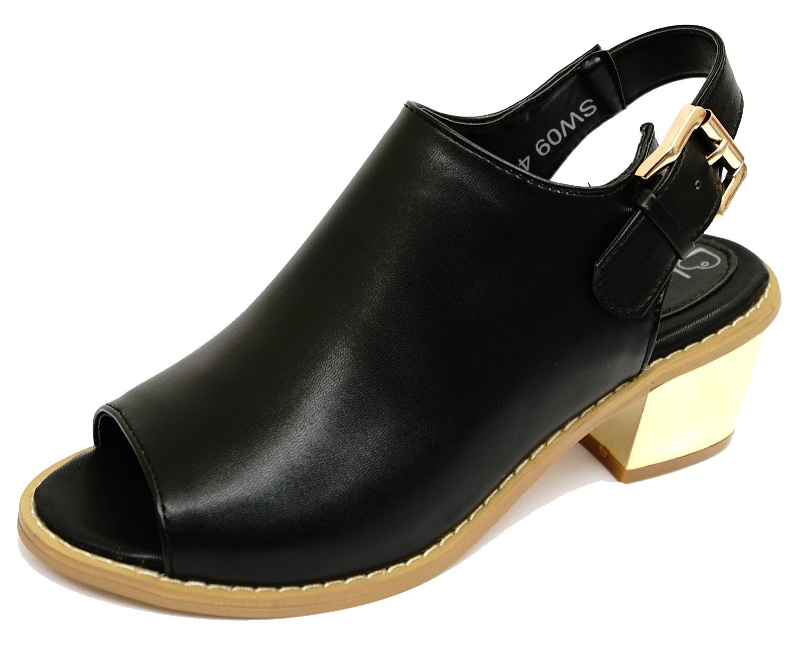 black slip on block heel peep toe slingback mules