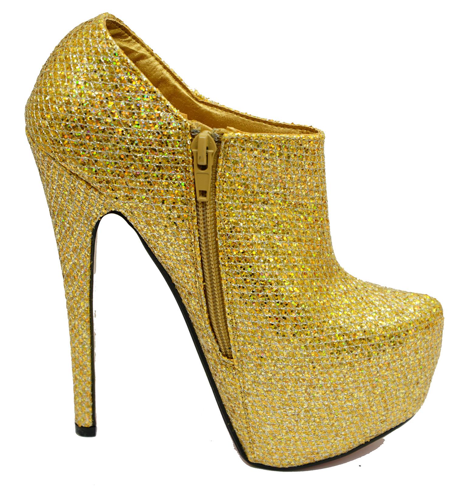 LADIES GOLD PLATFORM HIGH HEEL CHELSEA ANKLE ZIP-UP BOOTS EVENING SHOES UK 3-7