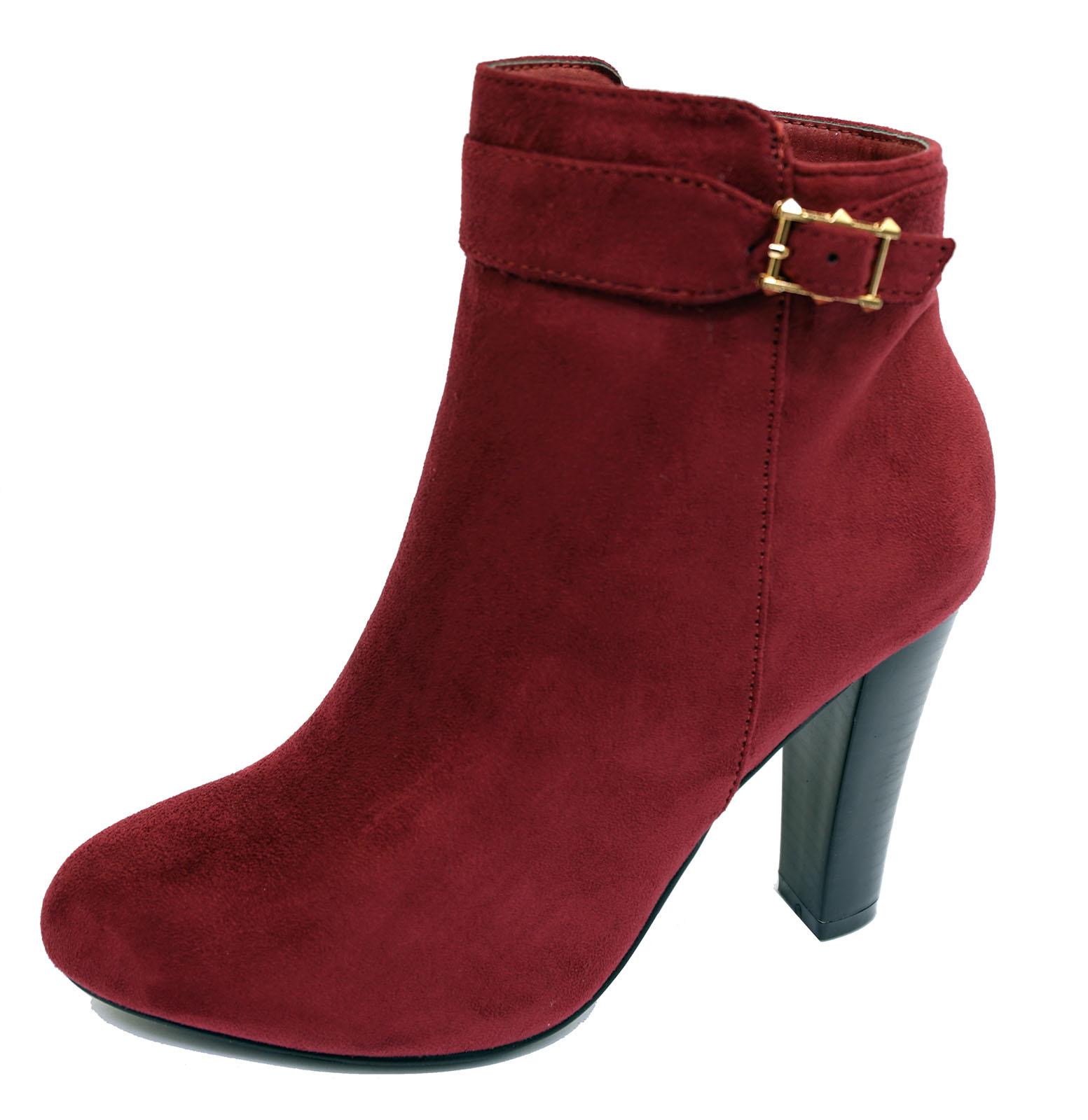 Damas de imitación de gamuza vino Cremallera Tobillo Botas de trabajo de la Pantorrilla Motociclista Inteligente Zapatos Tallas 3-8