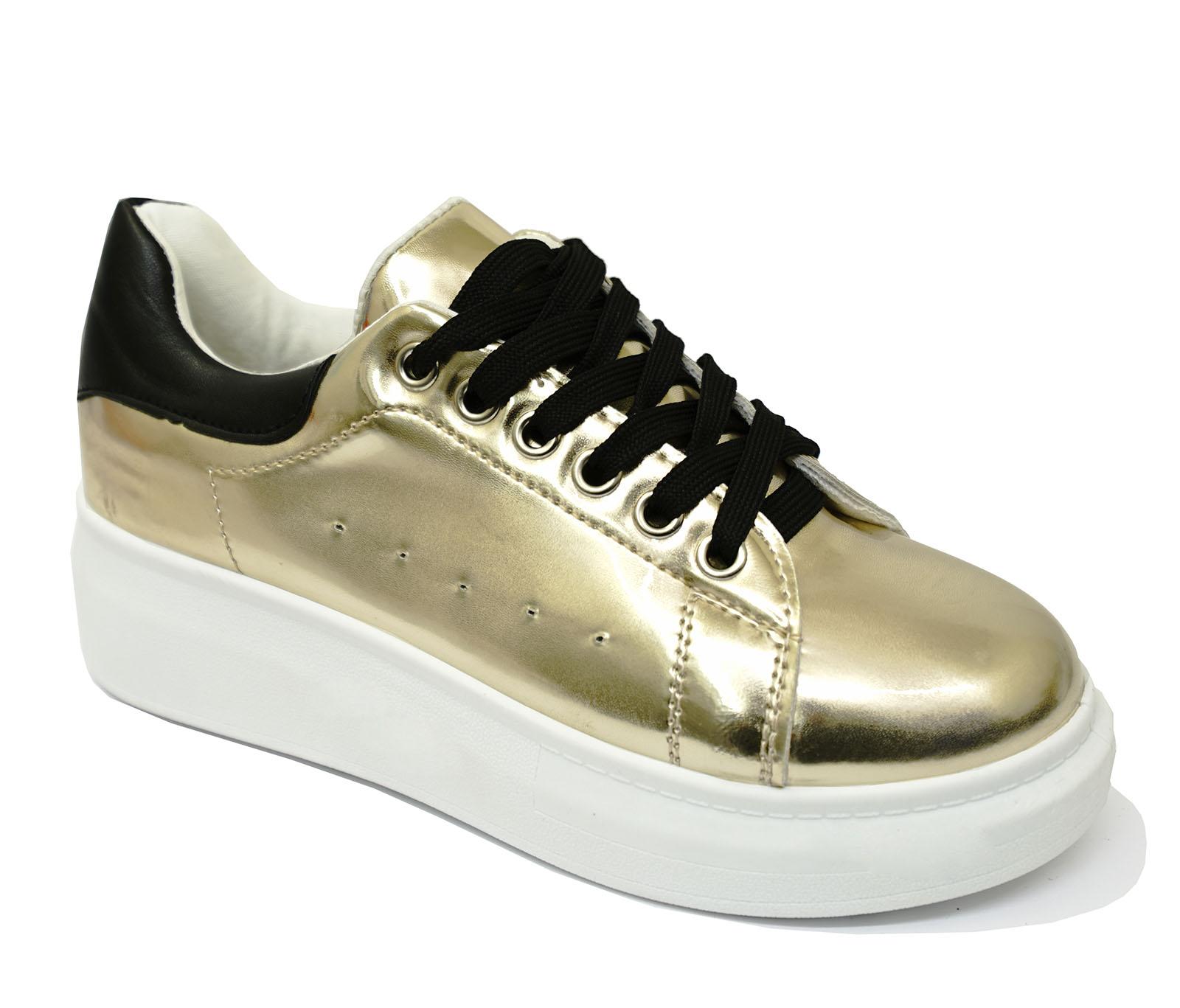 Señoras Oro Con Cordones Plataforma Creepers Plano Cuña Bombas Zapatillas Zapatos 3-8