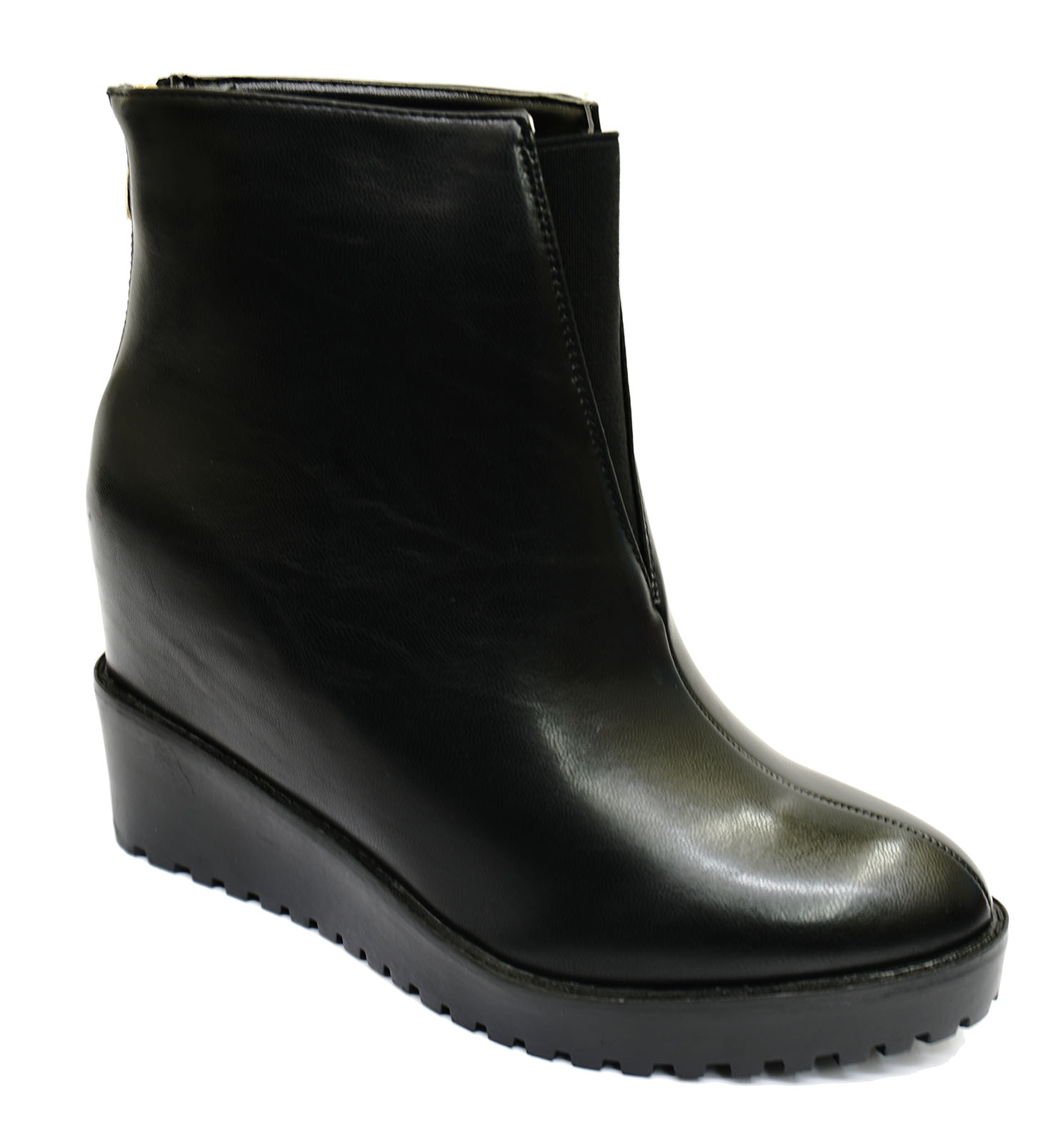 black wedge zip up ankle calf comfy smart work