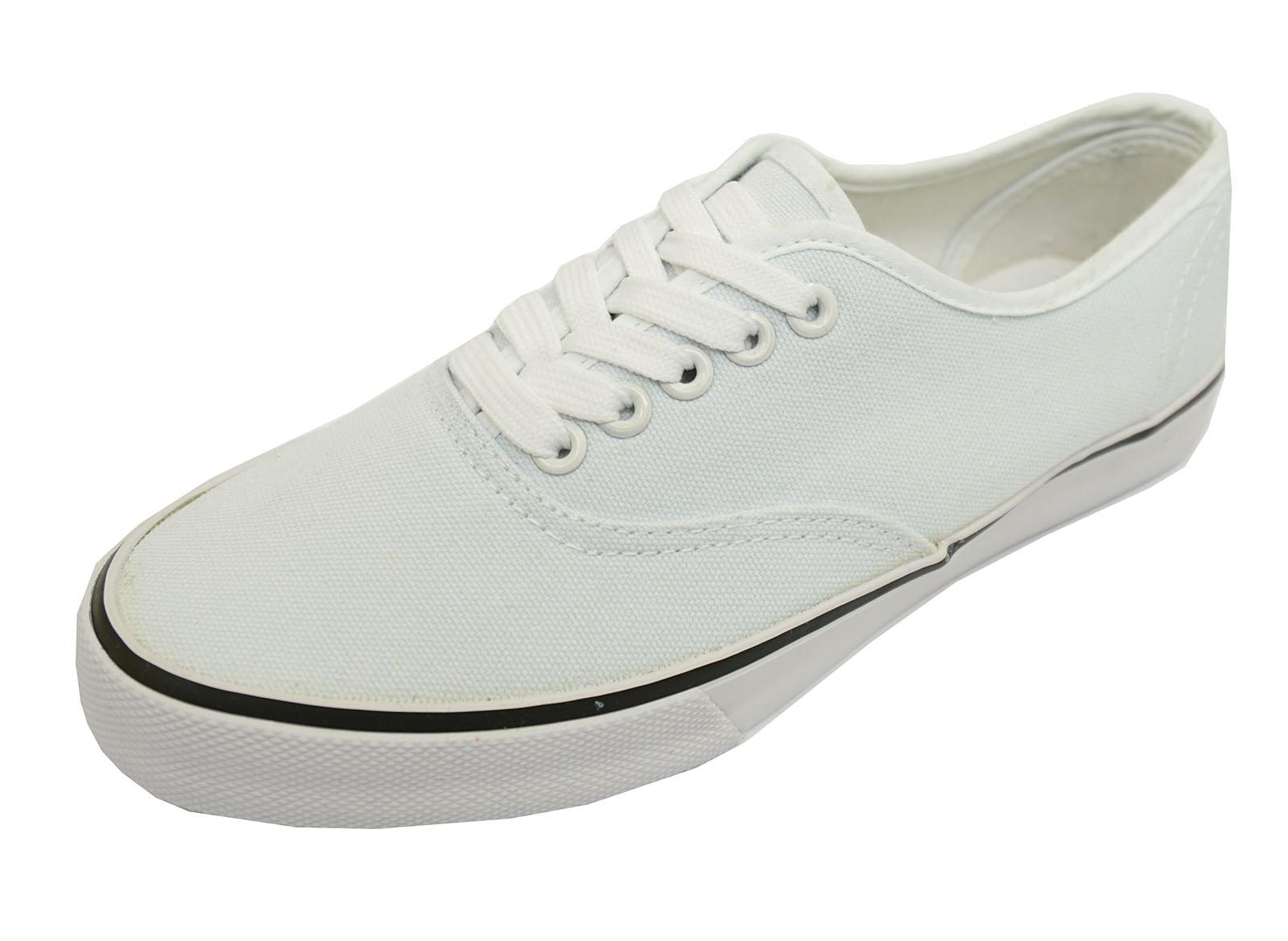 Mujer Blanco Con Cordones Lona Plano Zapatillas Zapatos Casual Número 3-8