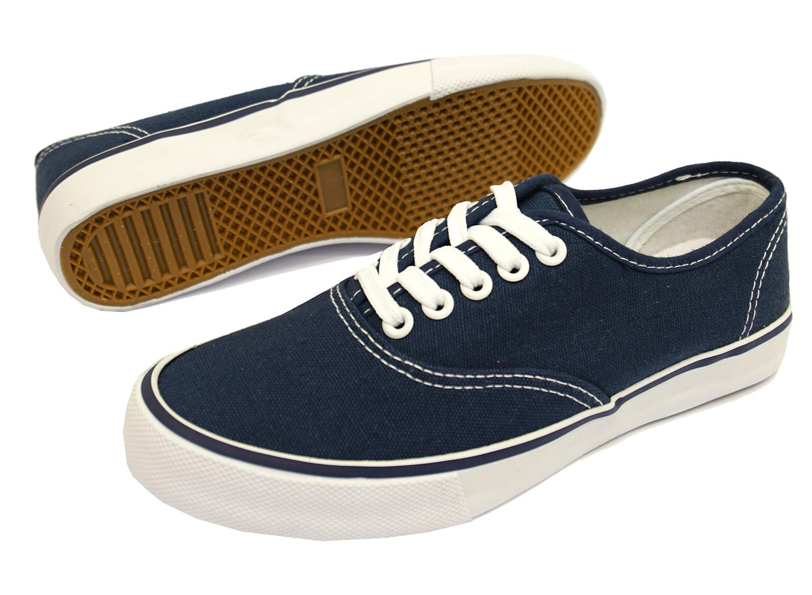 Damas Azul Con Cordones Lona Playera Bombas Zapatos Informales Planos entrenador Tallas 3-8