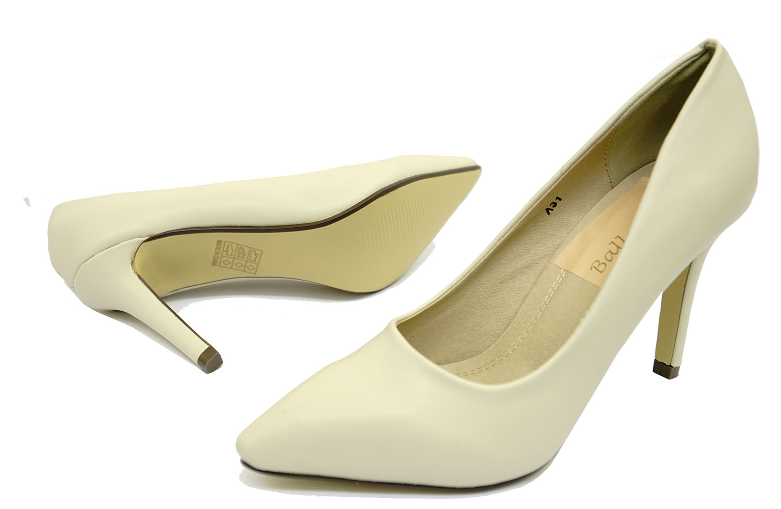 LADIES BEIGE STILETTO HIGH-HEEL SLIP-ON COURT WORK SMART POINTY SHOES SIZES 3-8