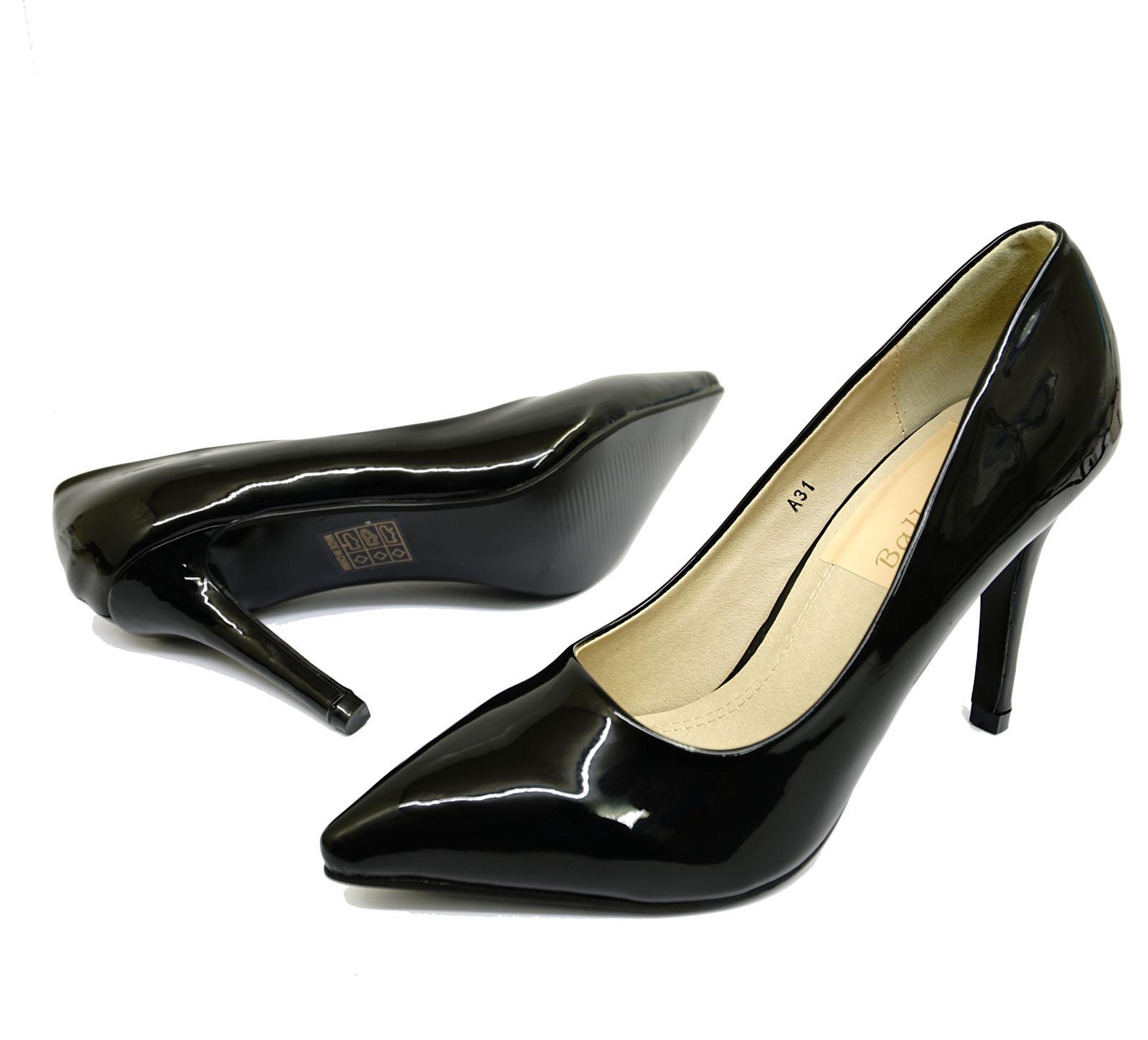 Señoras negras de patente Stiletto Tacón Alto Sin Cordones Zapatos Trabajo Tribunal inteligente Tamaños 3-8