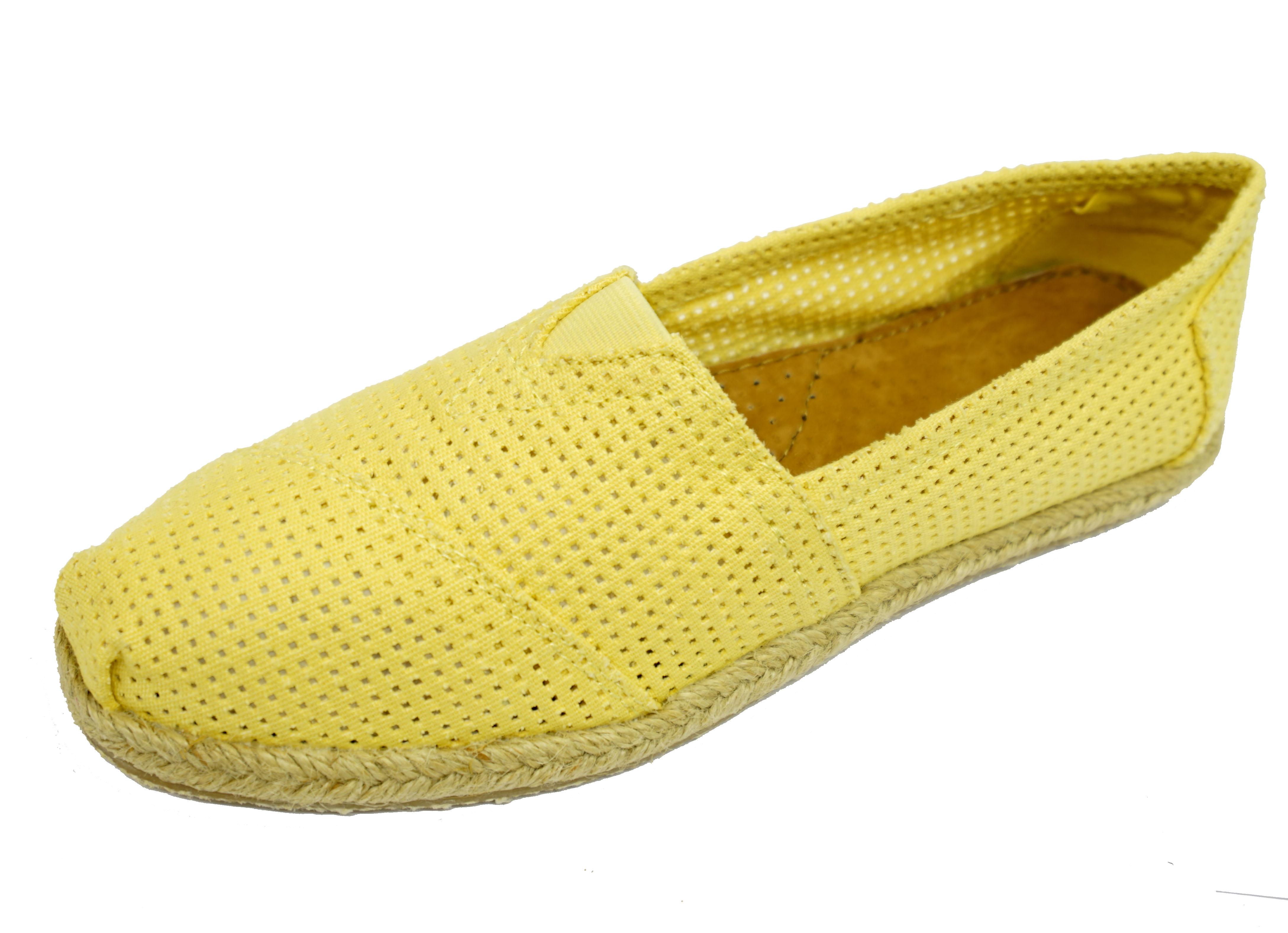 Señoras Amarillo Plano Sin Cordones Cómodos Zapatos Informales Bombas Alpargatas De Vacaciones Uk 3-8