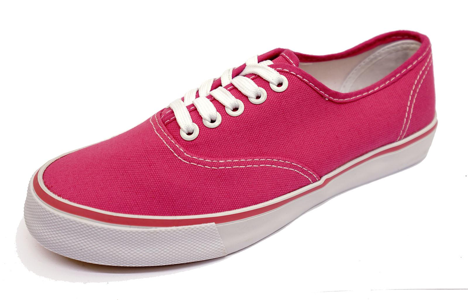 Mujer Rosa Lona entrenador Playera bombas Casual Plana Cómodos Zapatos con cordones 3-8