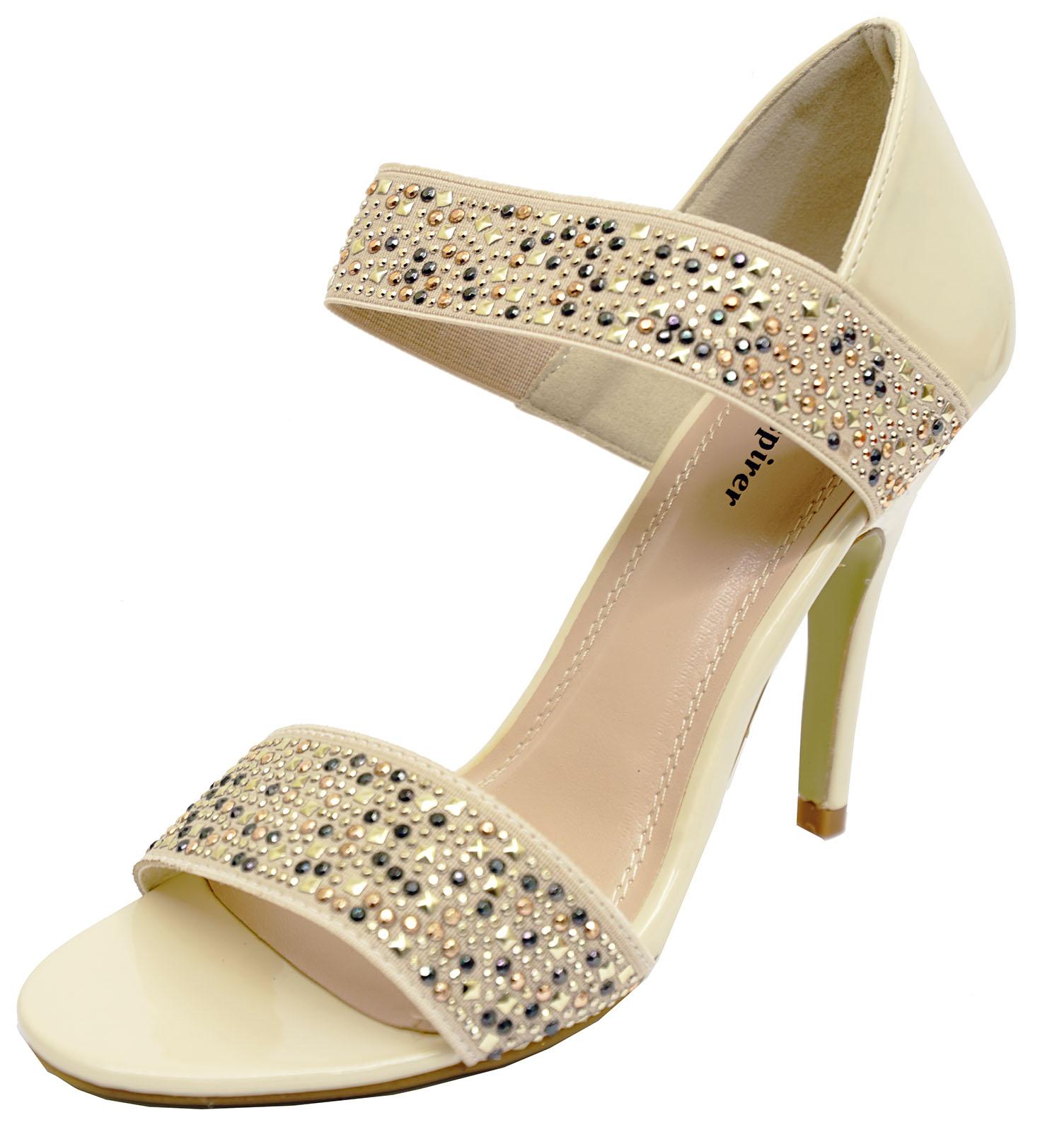 Para mujer beige oro Stiletto Slip-on Elegante Sandalias De Noche Graduación Zapatos Tallas 3-8