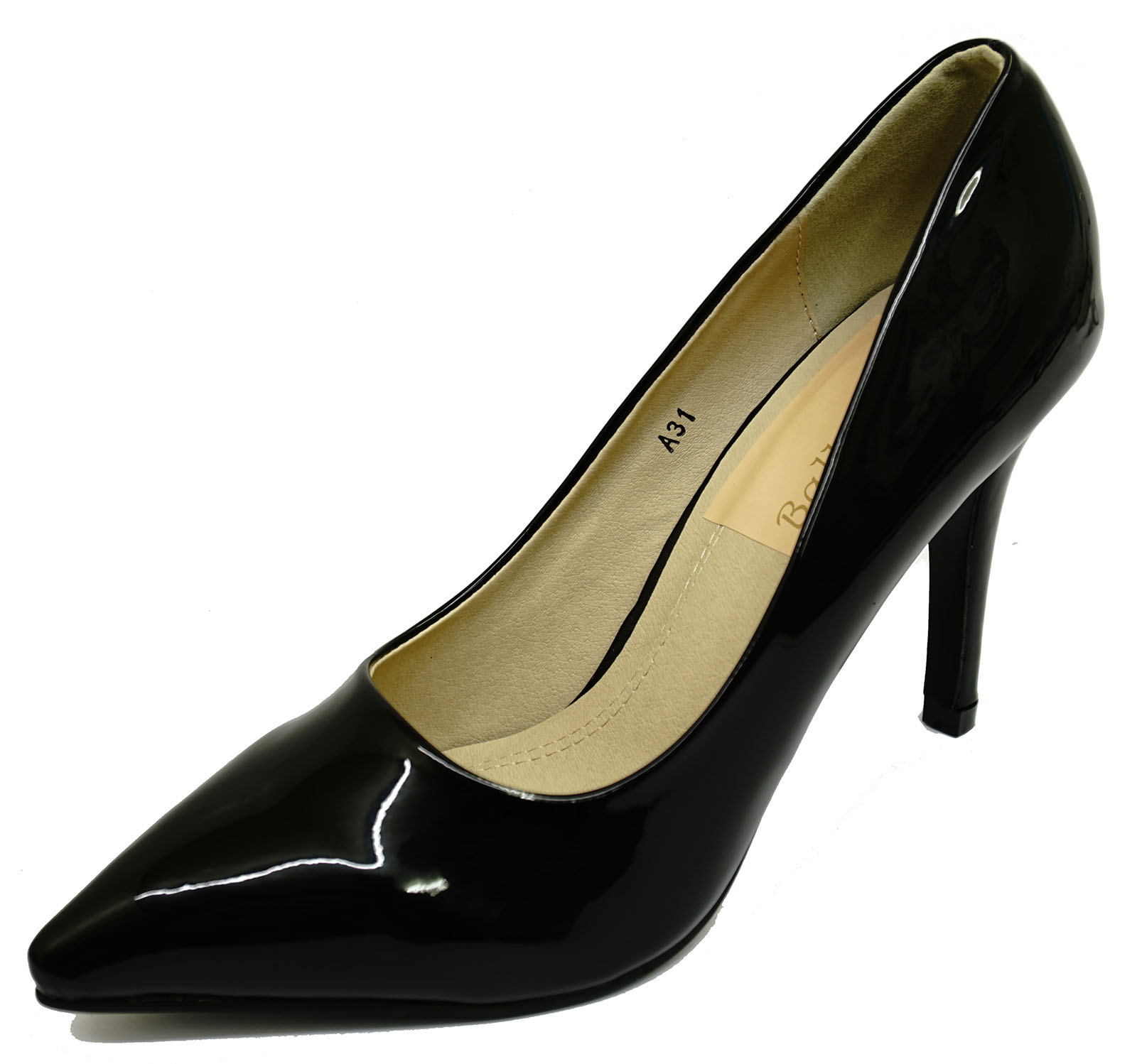 Para Mujer Sin Cordones Negro Patente Stiletto Tacón alto secretario Tribunal Zapatos De Trabajo 3-8