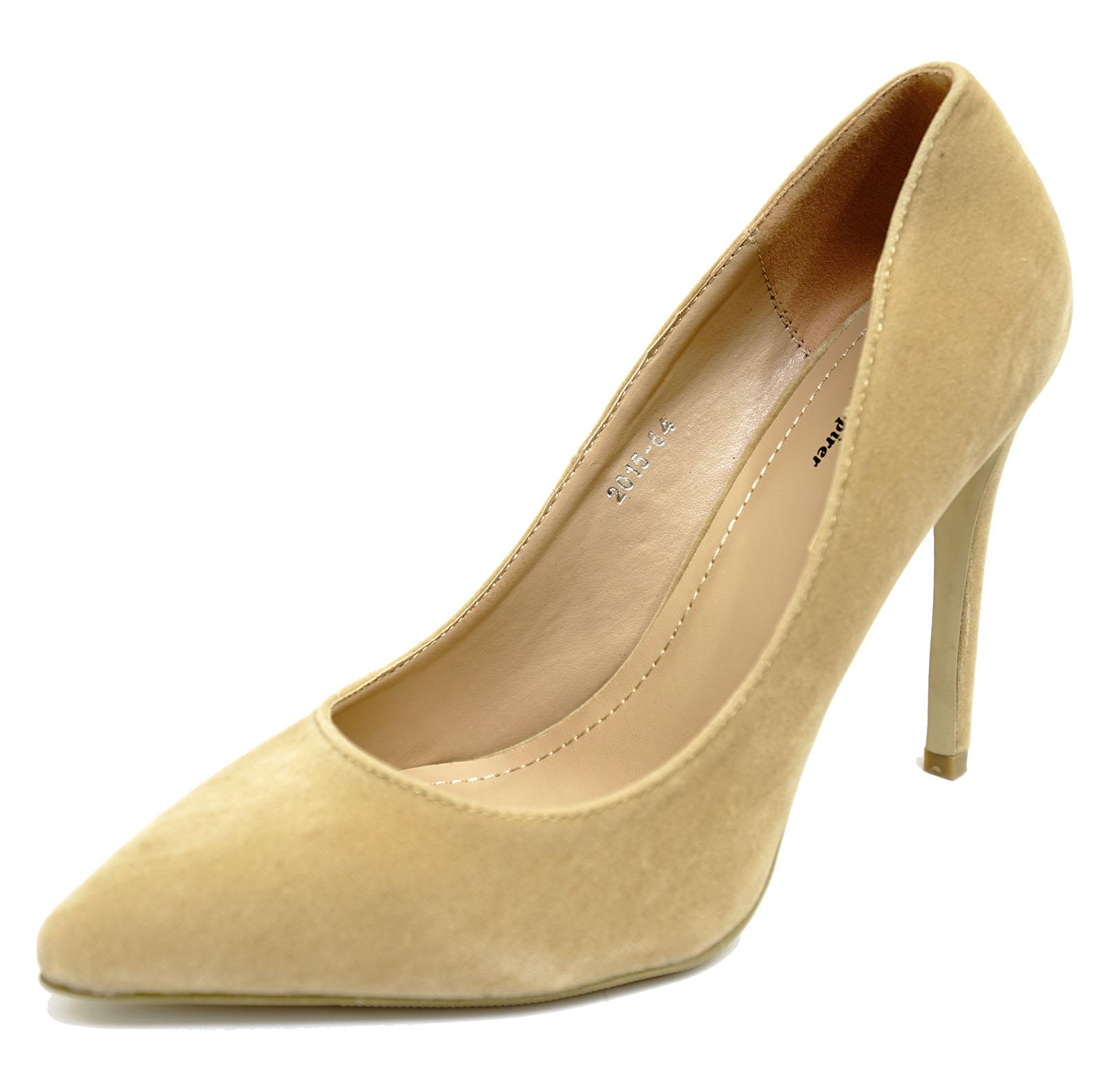 Secretario de Color Beige para Mujer Sin Cordones Zapatos Stiletto Tribunal trabajar Inteligente Puntiagudo UK 3-8