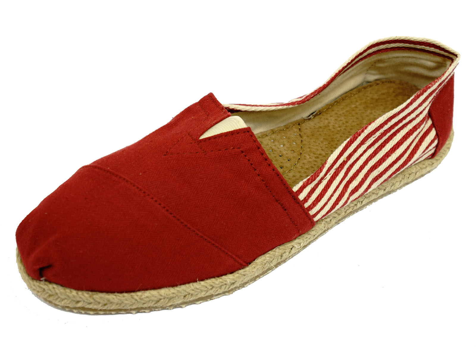 Para Mujer Raya Roja Plano Sin Cordones Cómodos Zapatos Informales Bombas Alpargatas De Hesse 3-8