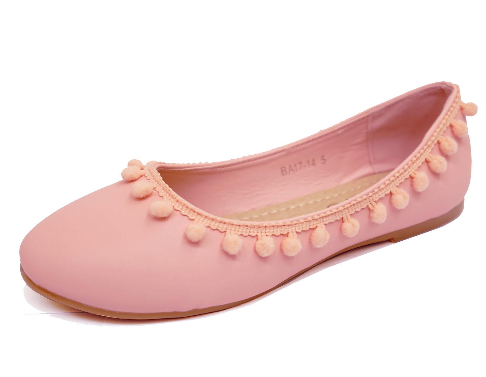 Señoras Rosa Plano Sin Cordones Zapatos Pom-Pom Bailarina Ballet Bombas Dolly Tamaños 3-8