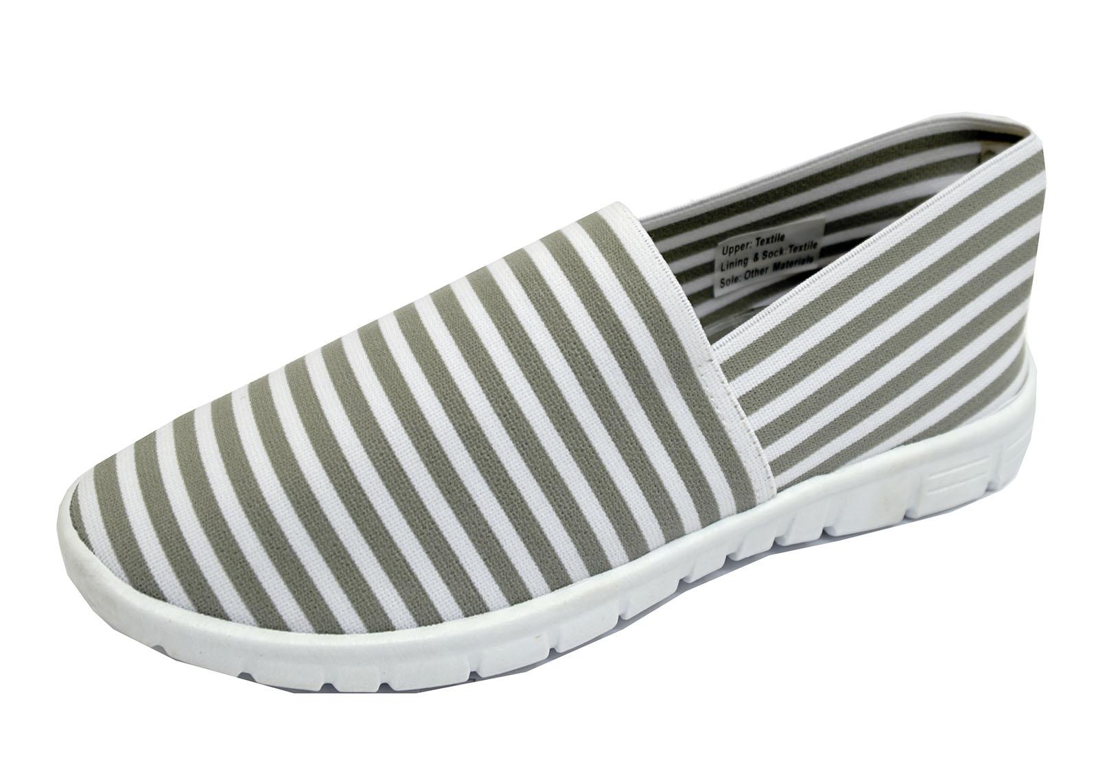 Señoras Blanco Gris Sin Cordones Comodidad de espuma de memoria de 3-8 entrenador para Zapatos de salón